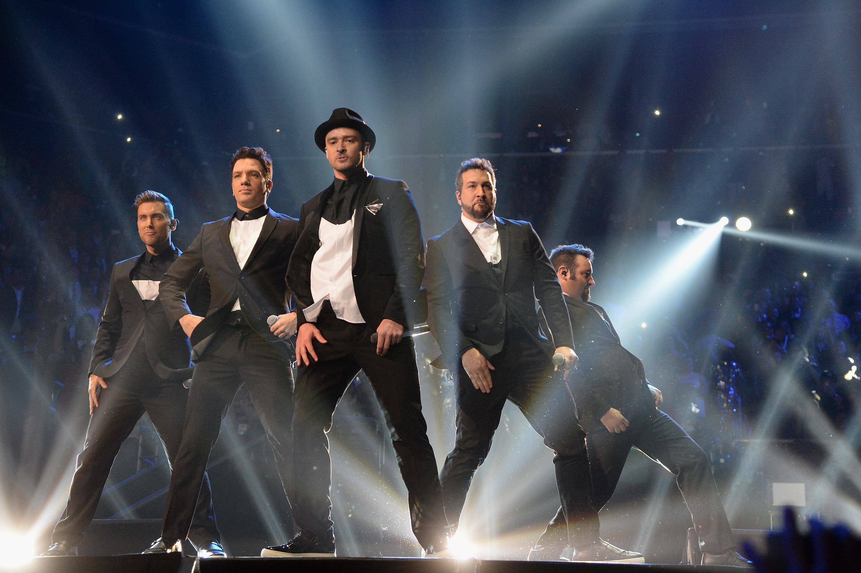 Lance Bass, JC Chasez, Justin Timberlake, Joey Fatone and Chris Kirkpatrick of *NSync perform during the 2013 MTV Video Music Awards at the Barclays Center in Brooklyn, New York on Aug. 25, 2013.