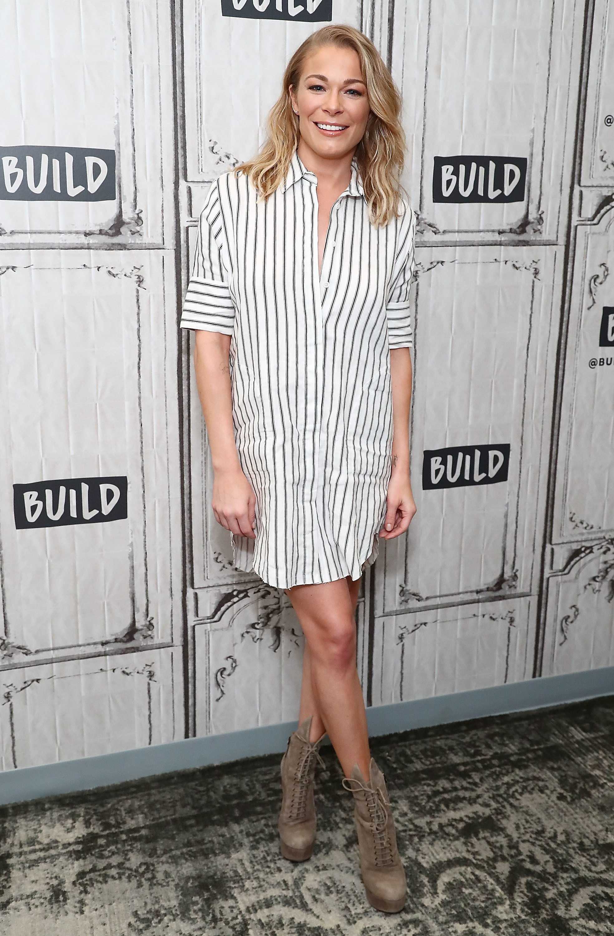"LeAnn Rimes discusses her film ""Logan Lucky"" at Build Studio in New York City on Aug. 17, 2017."