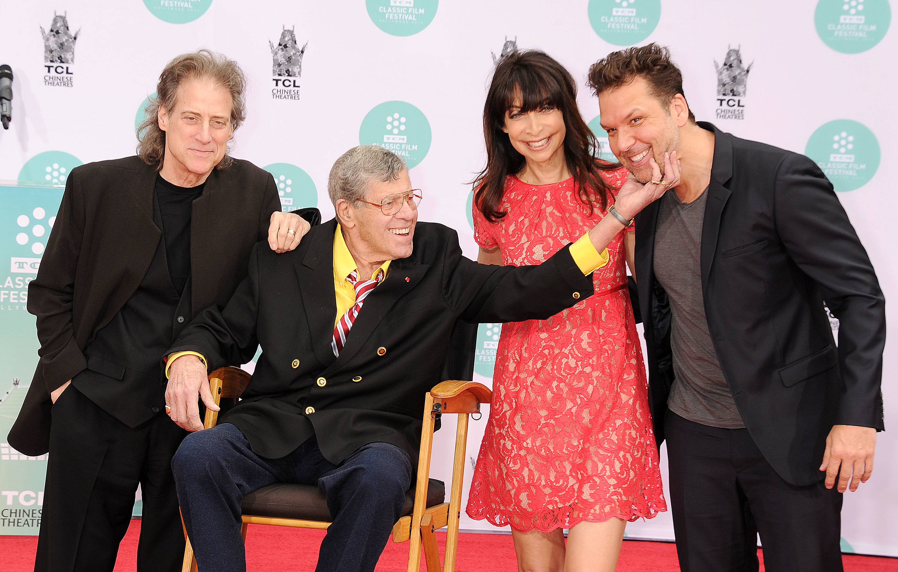 Richard Lewis, Jerry Lewis, Illeana Douglas and Dane Cook attend the Jerry Lewis handprint ceremony in Los Angeles, Calif., on April 12, 2014.