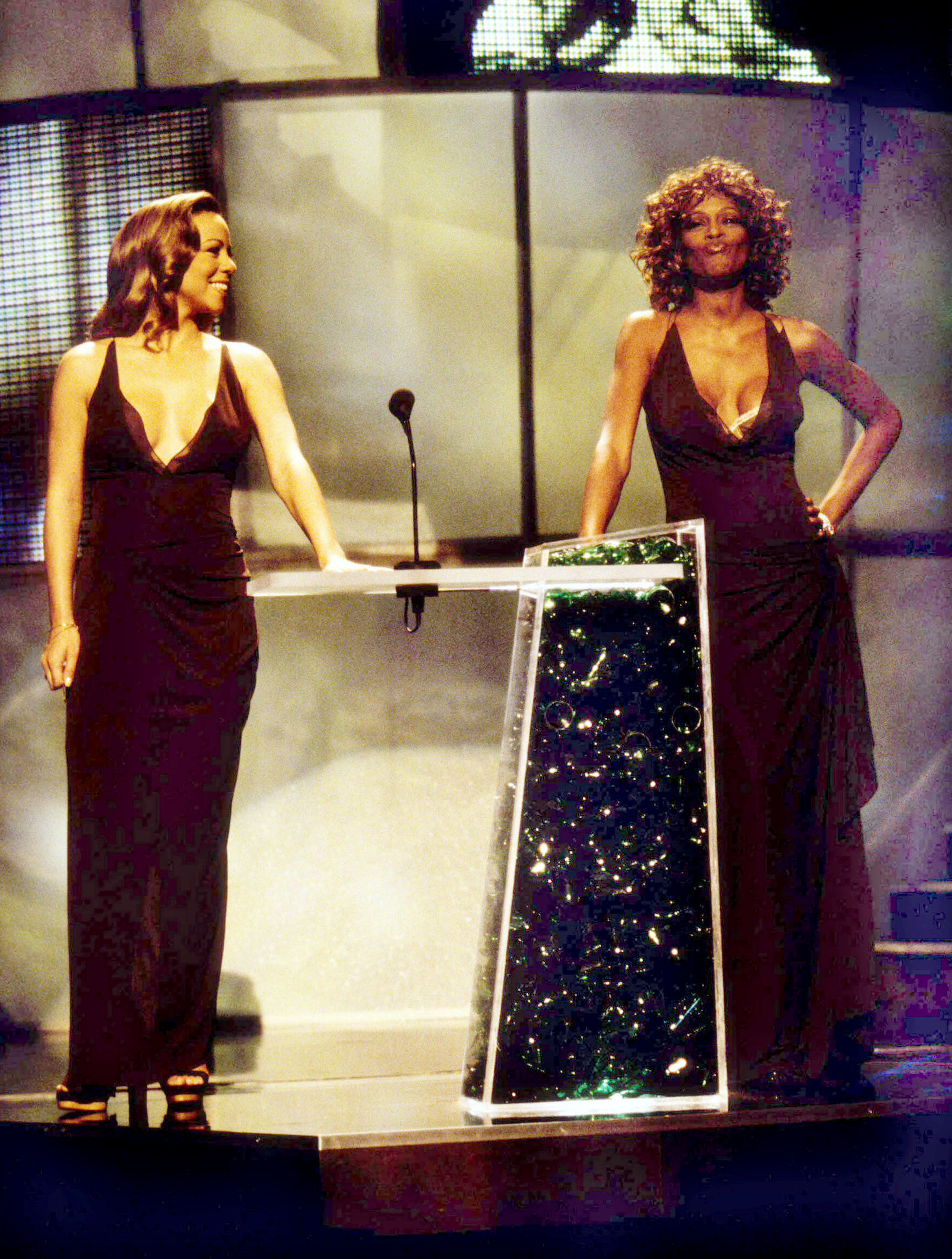 Mariah Carey and Whitney Houston at the 1998 MTV VMA in Los Angeles on Sept. 10, 1998.