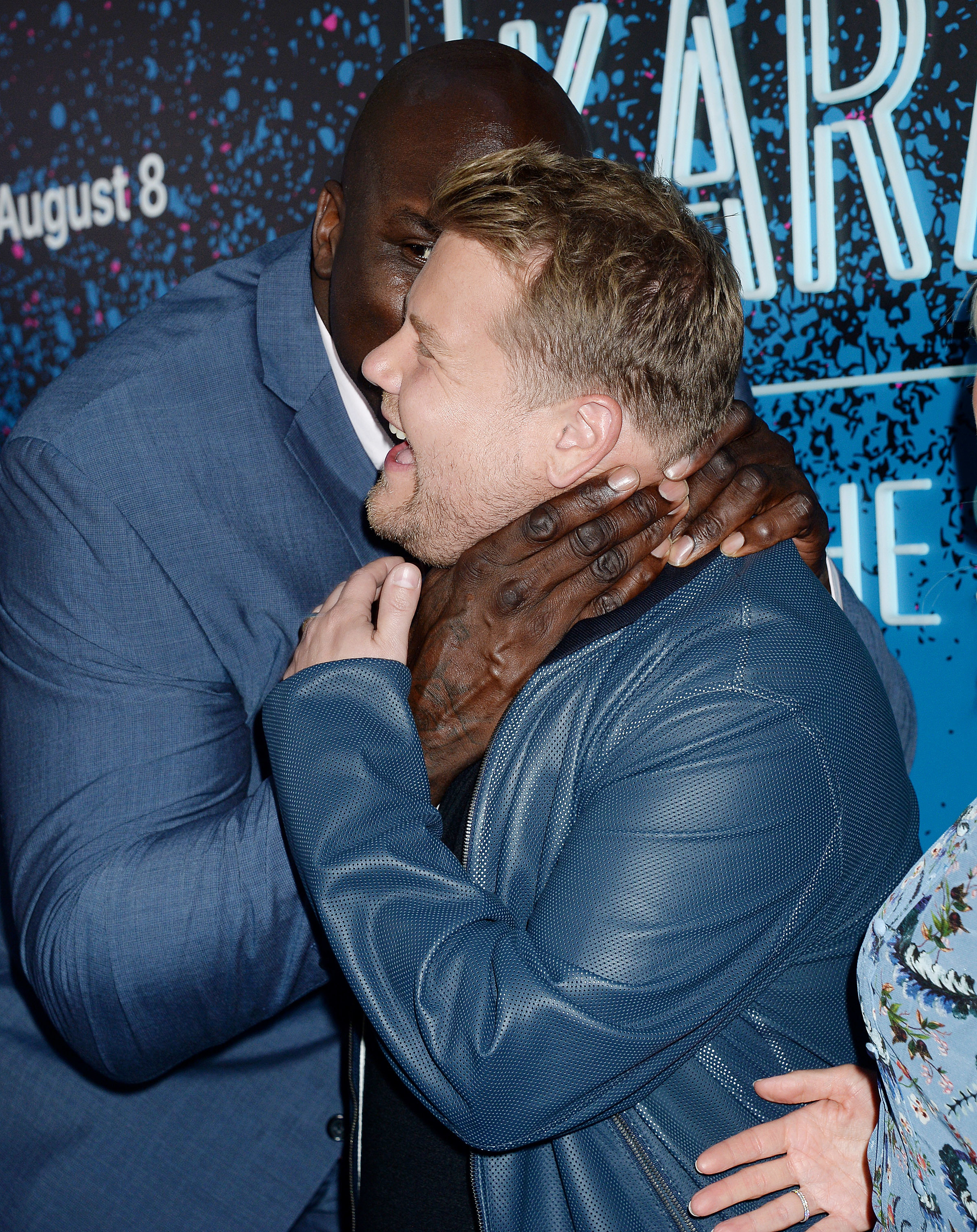 "James Corden and Shaquille O'Neal attend the launch party of ""Carpool Karaoke: The Series"" on Apple Music in Los Angeles on Aug. 7, 2017."