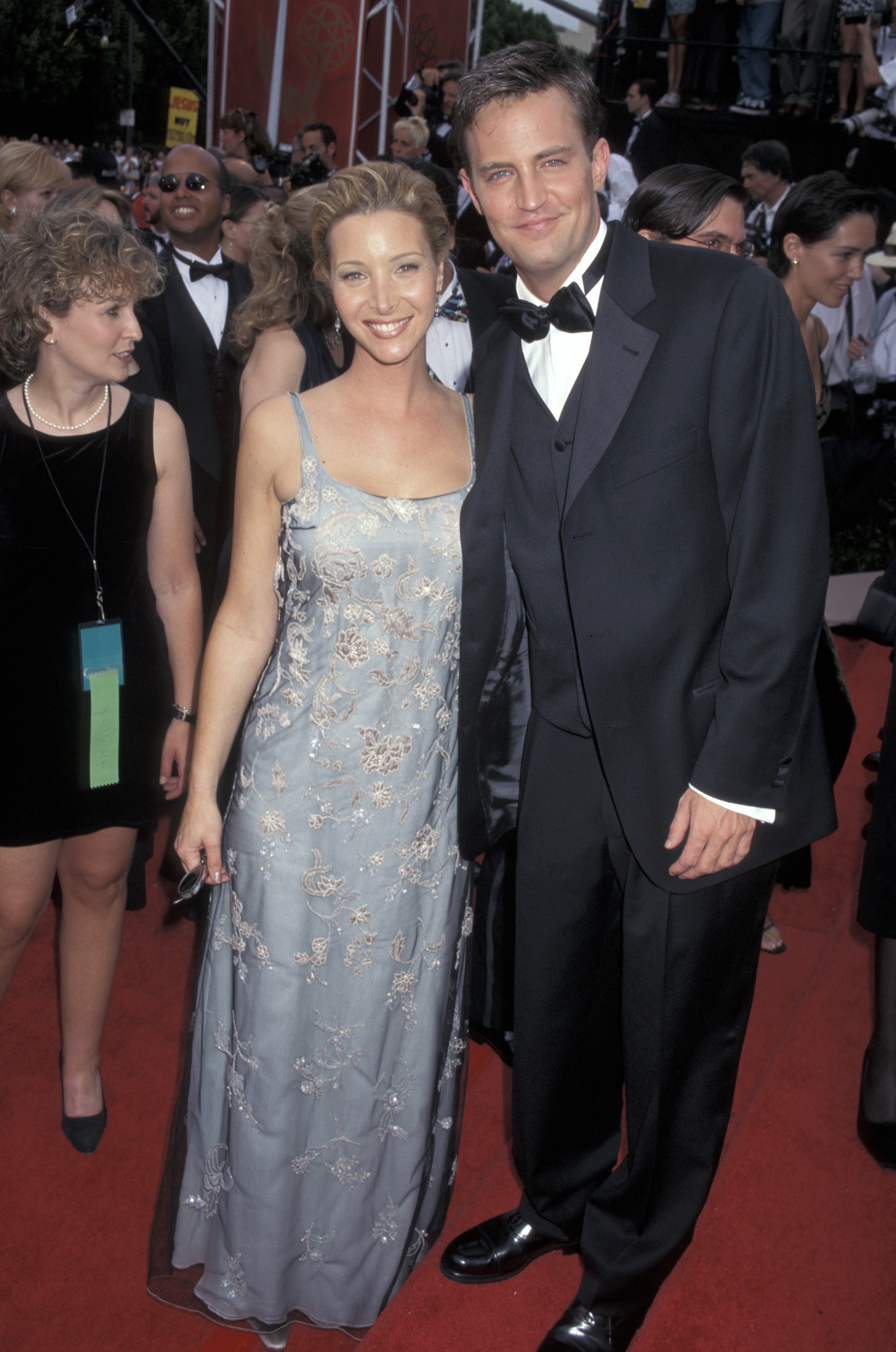 Lisa Kudrow and Matthew Perry arrive at the 49th Annual Primetime Emmy Awards at the Pasadena Civic Auditorium in Pasadena, California, on Sept. 14, 1997.