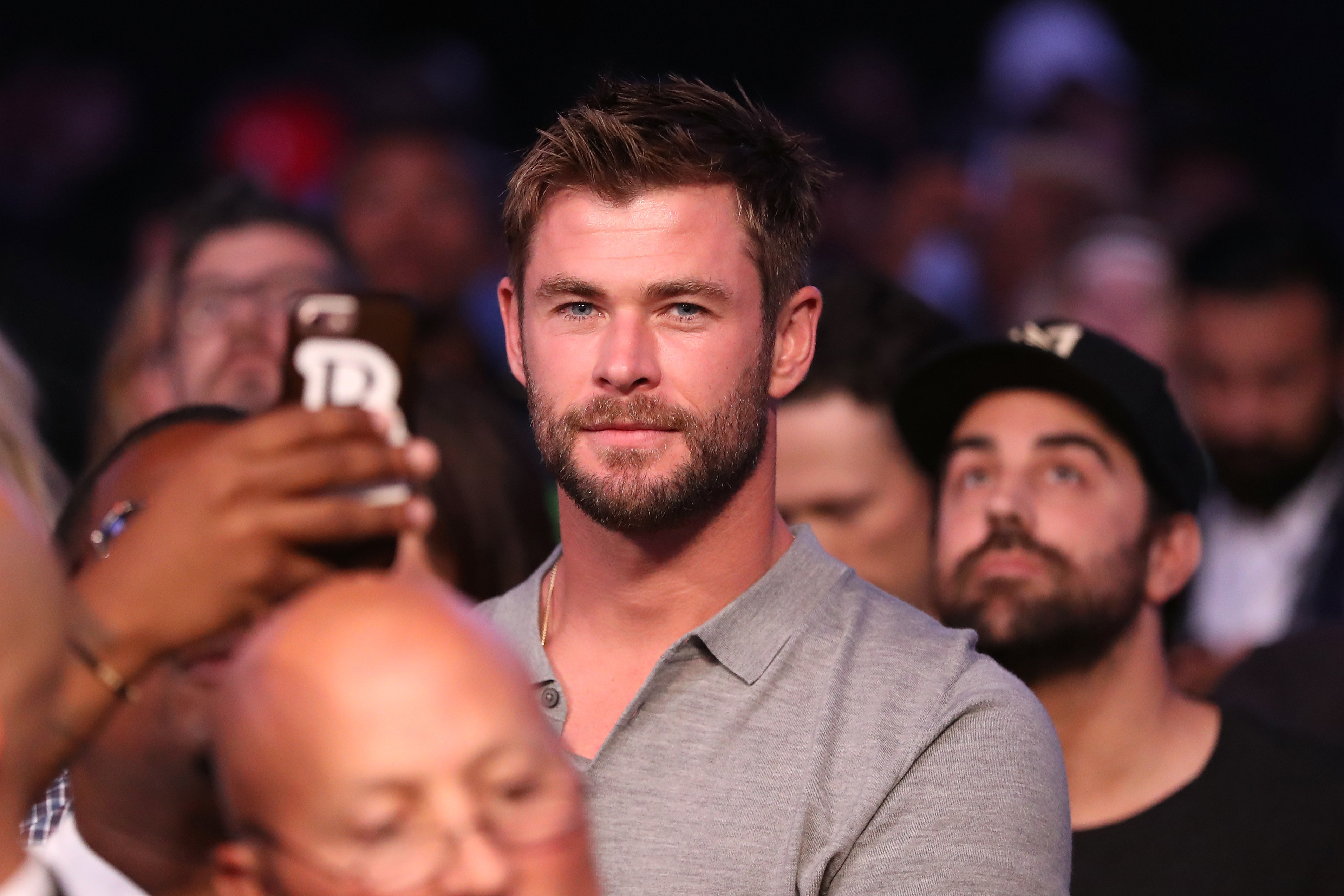 Chris Hemsworth attends the super welterweight boxing match between Floyd Mayweather Jr. and Conor McGregor at T Mobile Arena in Las Vegas on Aug. 26, 2017.