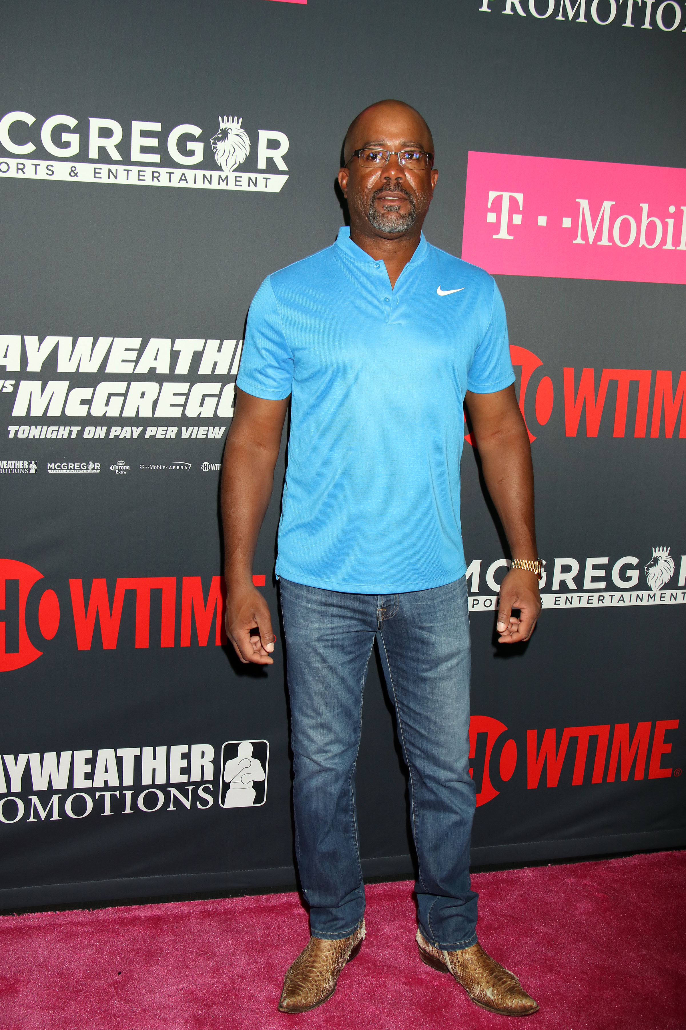Darius Rucker arrives at the Mayweather vs. McGregor Pre Event VIP Party Red Carpet at T Mobile Arena in Las Vegas on Aug. 26, 2017.