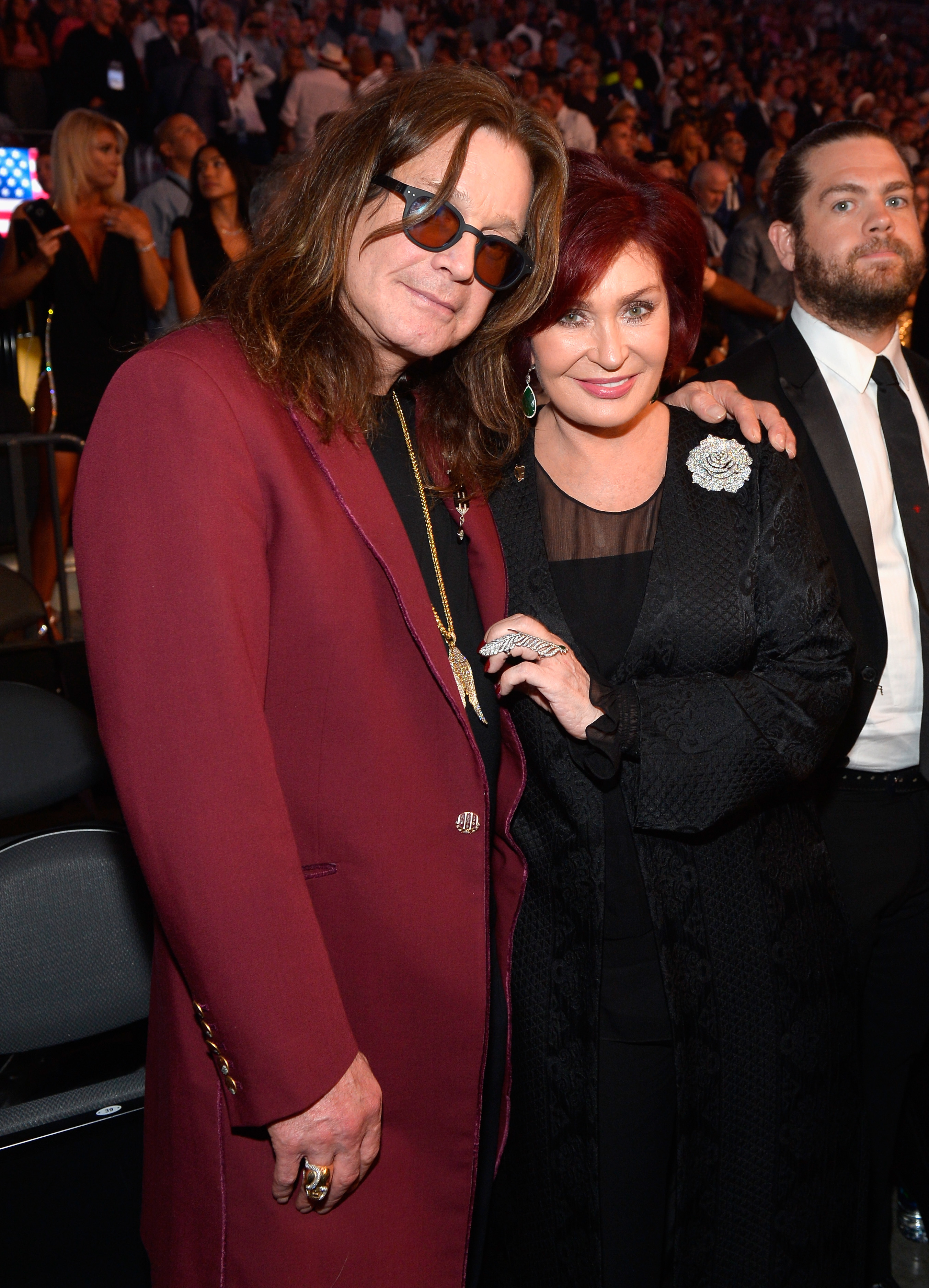 Ozzy Osbourne, Sharon Osbourne and son Jack Osbourne attend the boxing match between Floyd Mayweather Jr. and Conor McGregor at T Mobile Arena in Las Vegas on Aug. 26, 2017, after the Showtime, WME IME and Mayweather Promotions VIP Pre Fight party.