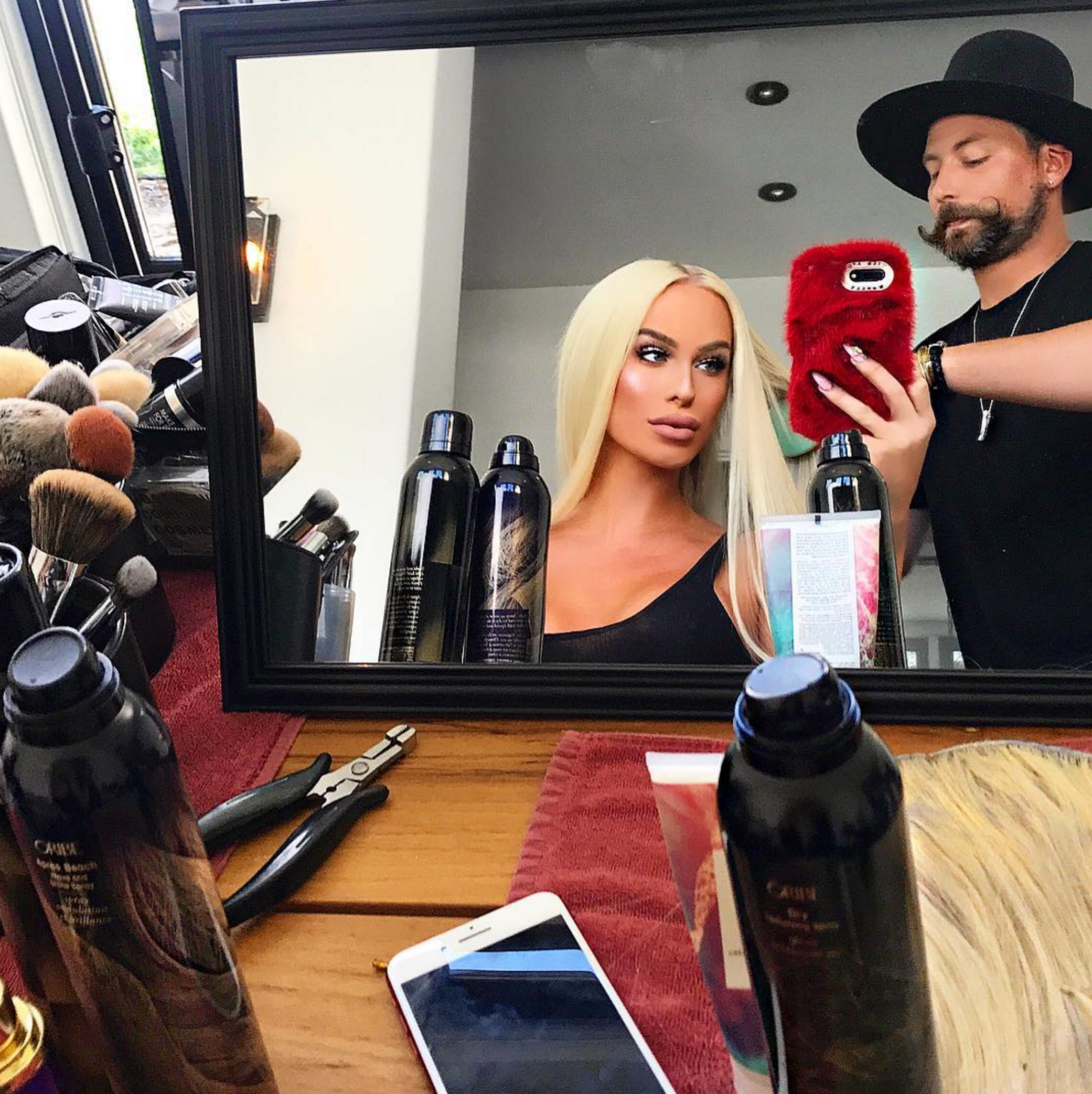 """""""☕️""""   Gigi Gorgeous, who posted this photo of herself getting ready for the MTV VMAs on Aug. 27, 2017"""