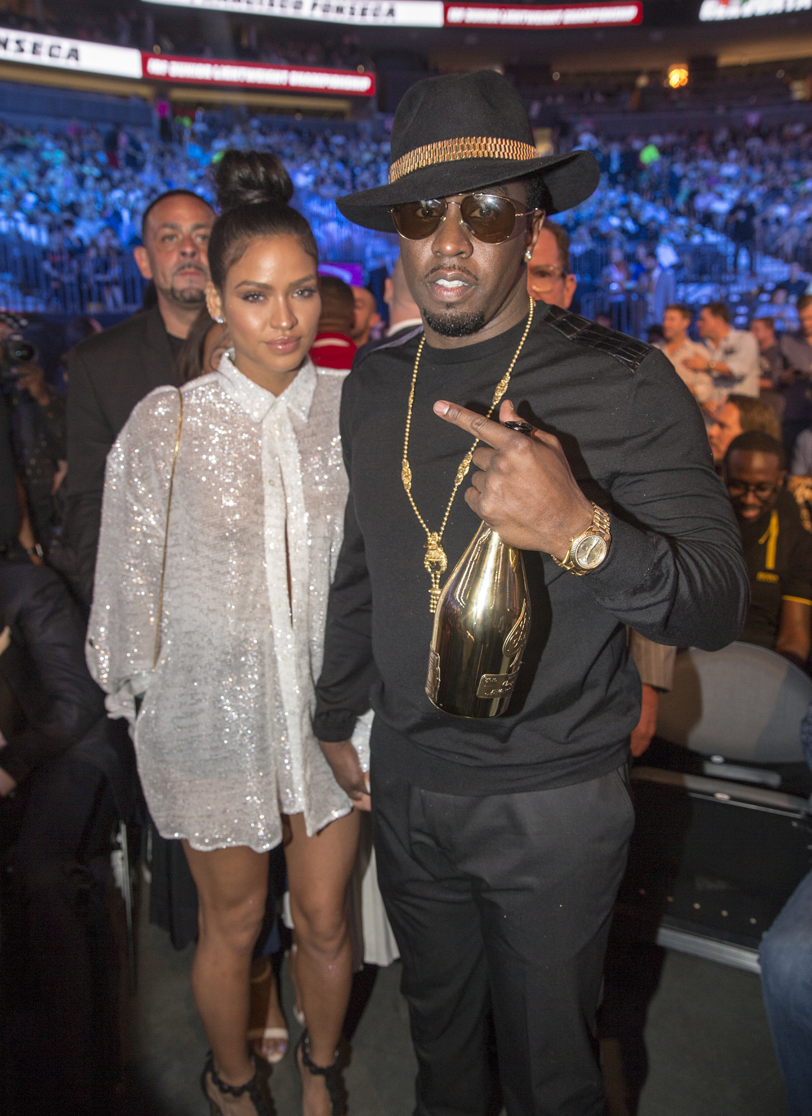 Diddy and longtime girlfriend Cassie were on hand for the Mayweather vs. McGregor fight in Las Vegas on Aug. 26, 2017.