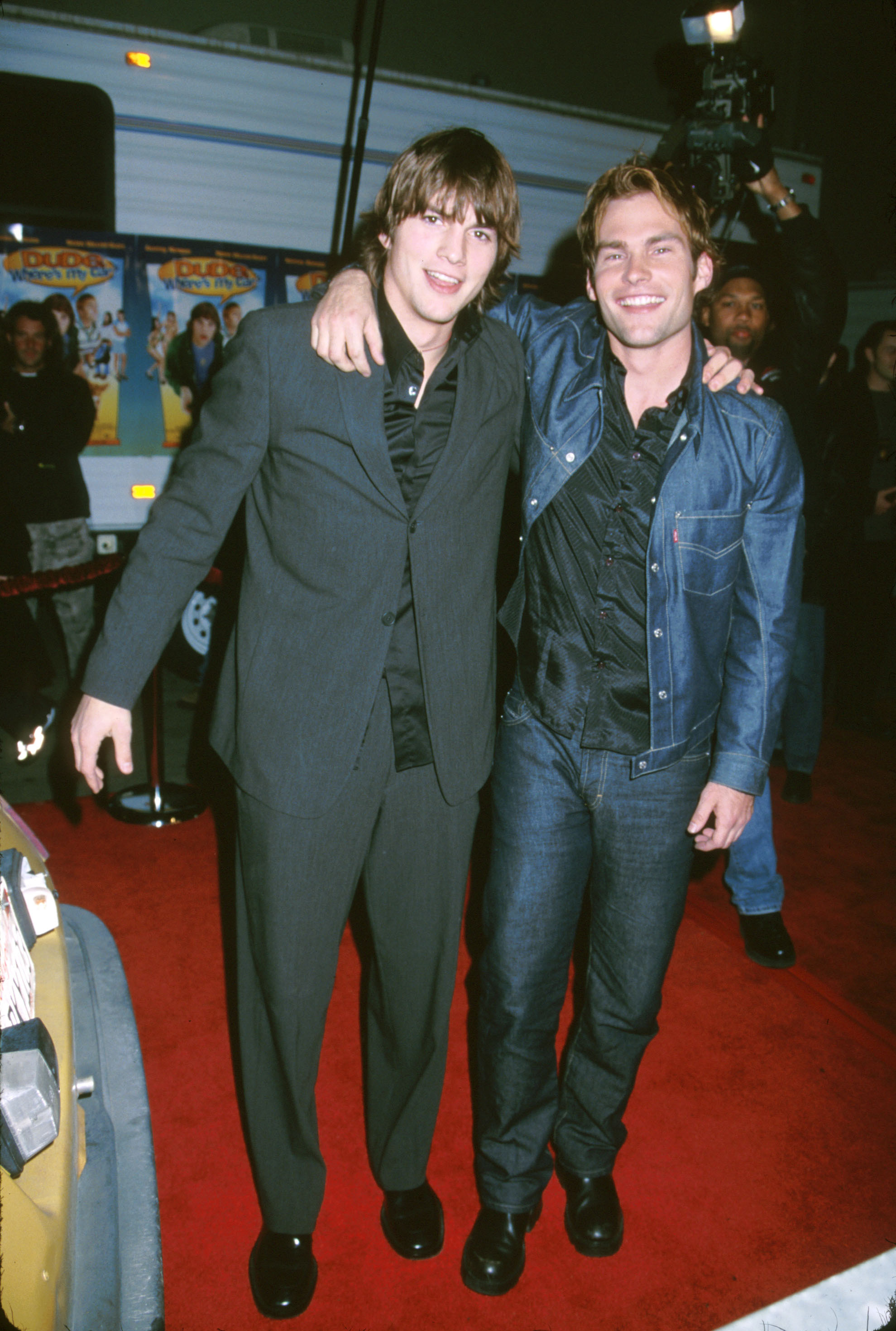 "Ashton Kutcher and Seann William Scott attend the premiere of ""Dude, Where's My Car?"" at Fox Studios in Los Angeles on Dec. 10, 2000."