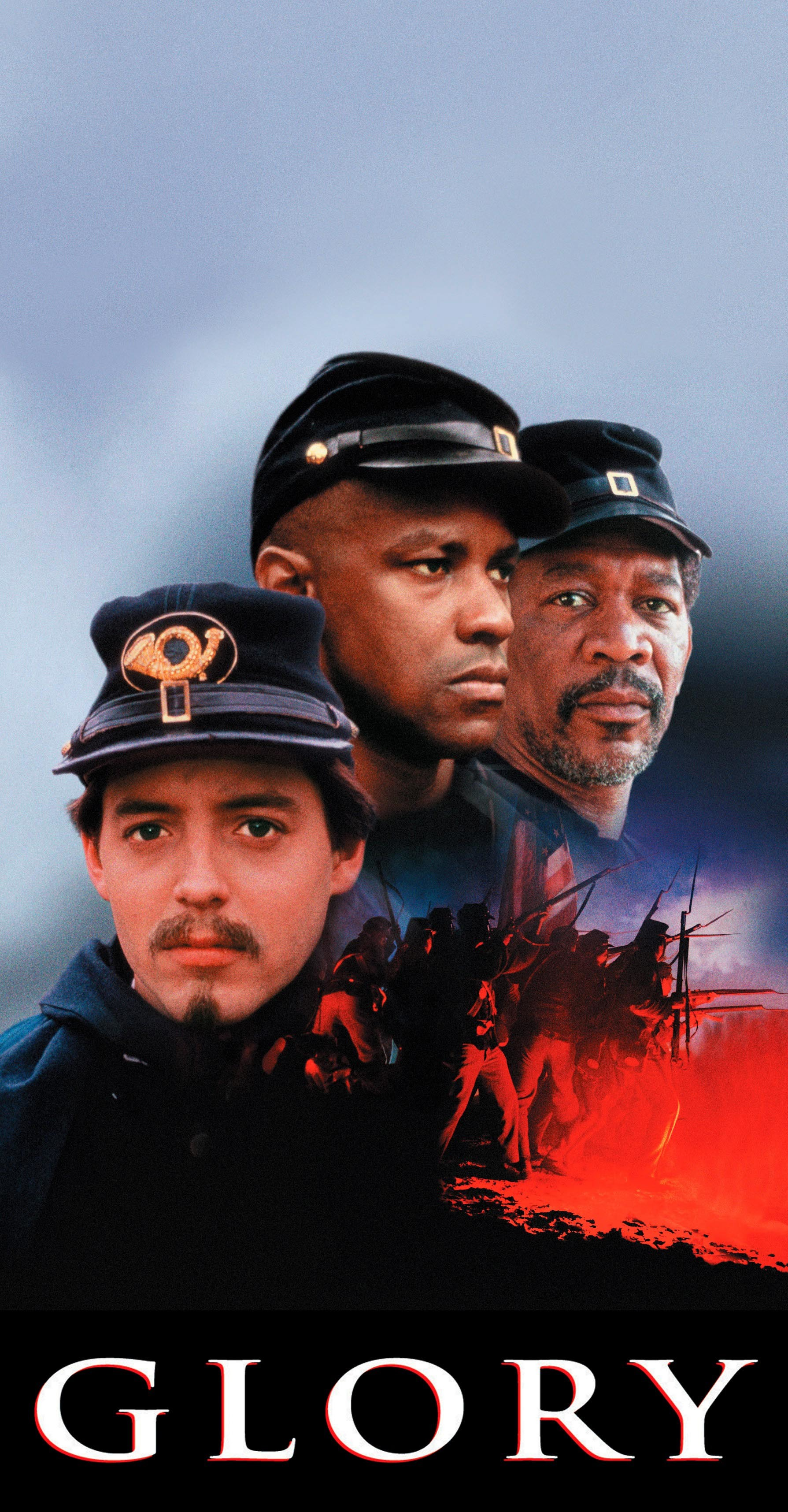 """Matthew Broderick, Denzel Washington and Morgan Freeman appear on the movie poster for 1989's """"Glory."""""""