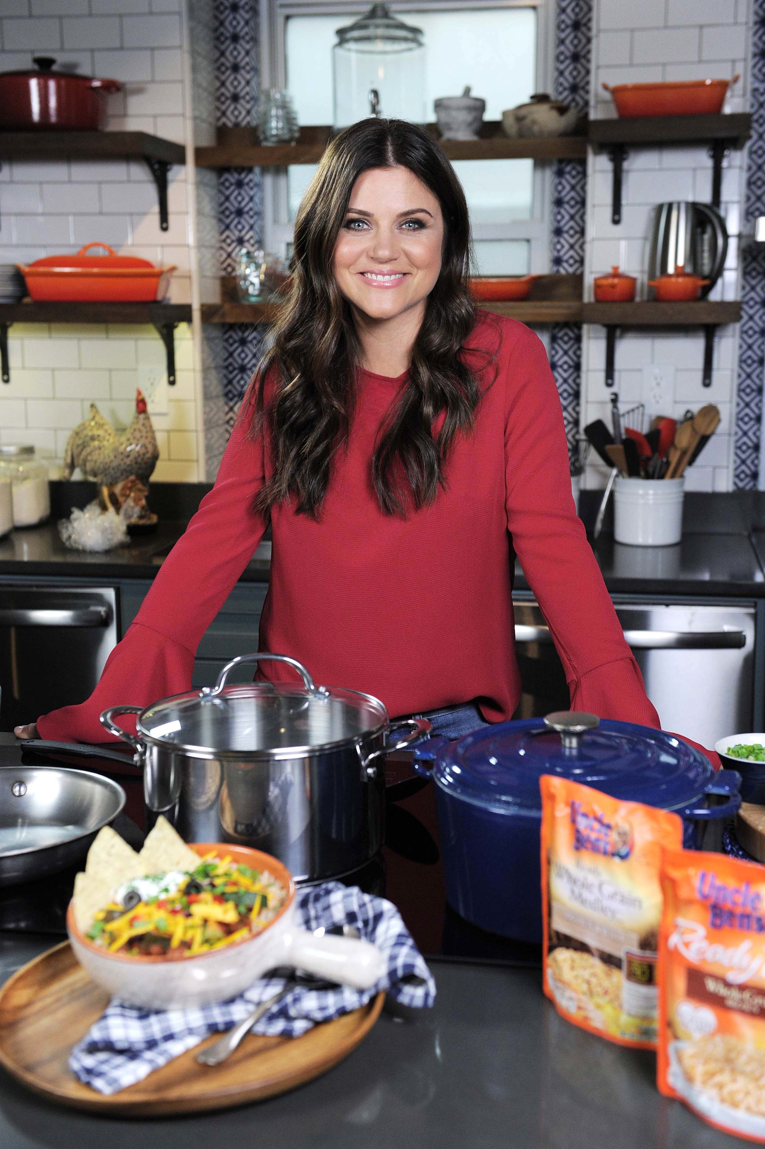 Tiffani Thiessen promotes Uncle Ben's Ben's Beginners campaign and contest at The Kitchen Table NYC in New York City on Aug. 28, 2017.