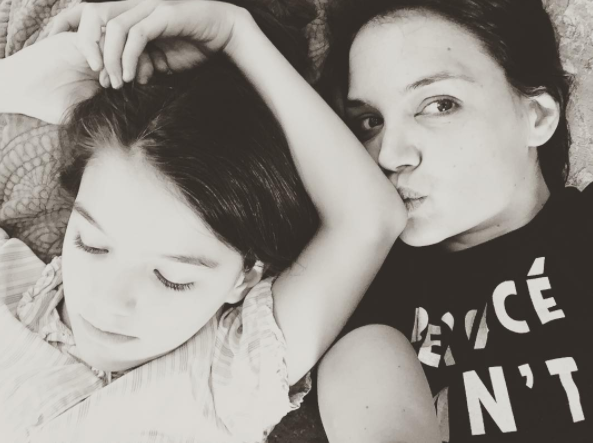 """""""#happymothersday 💕💕💕💕💕💕""""   Katie Holmes, who posted this makeup free selfie with her daughter Suri Cruise on Instagram on May 14, 2017"""