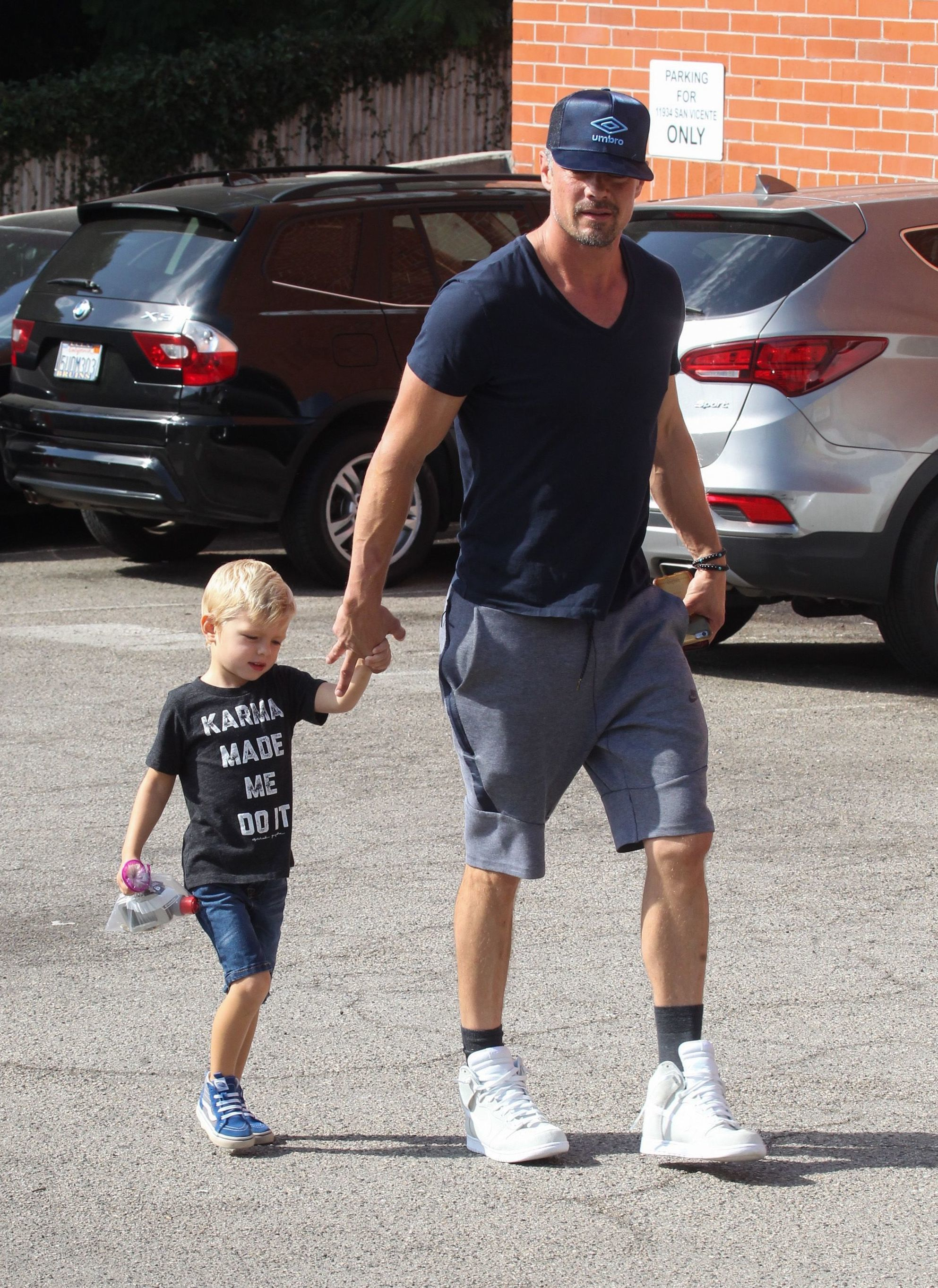 Josh Duhamel and his son Axl Duhamel are spotted out and about in Los Angeles, Calif., on Sept. 3, 2017.