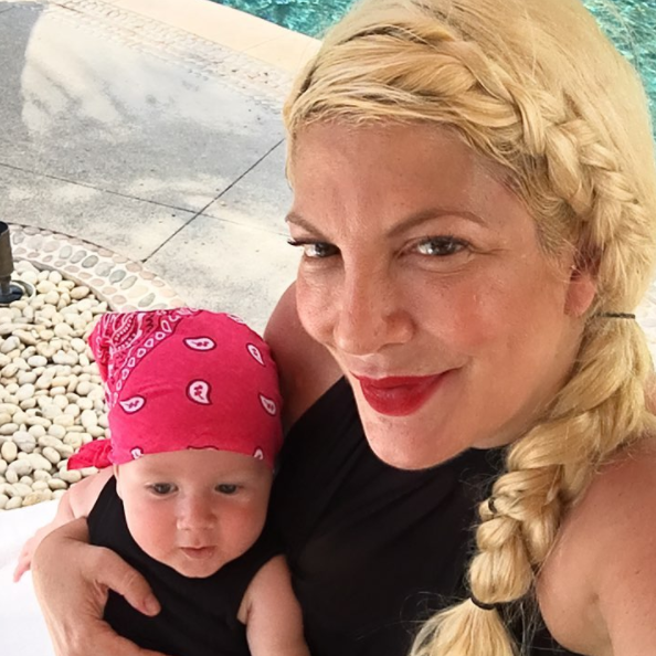"""#babybeau and I all geared up for the lazy river @fspuntamita #swimdressisthenewbikini #sixmonths #bandanabeau""   Tori Spelling, who posted this photo on Instagram on Sept. 4, 2017, while on vacation in Punta Mita."