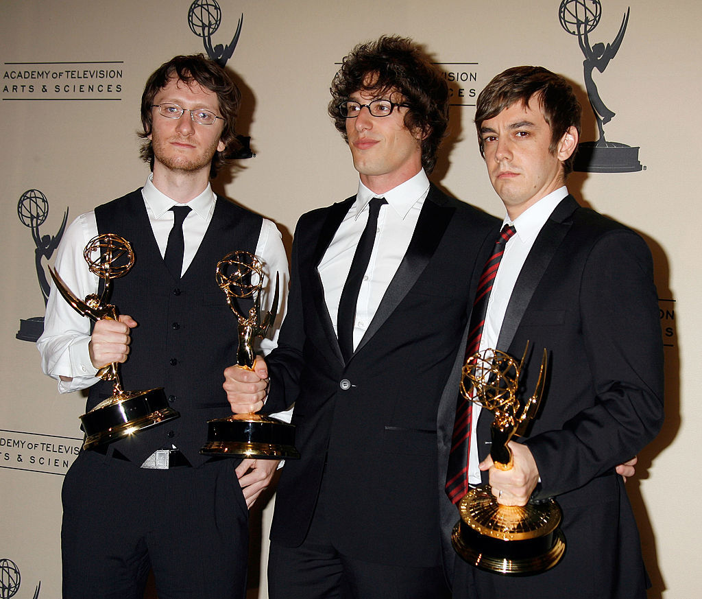 Lyricists Akiva Schaffer, Andy Samberg and composer and lyricist Jorma Taccone accept an Emmy Award for Outstanding Original Music and Lyrics at the 59th Annual Primetime Creative Arts Emmy Awards, held at the Shrine Auditorium in Los Angeles on Sept. 08, 2007.