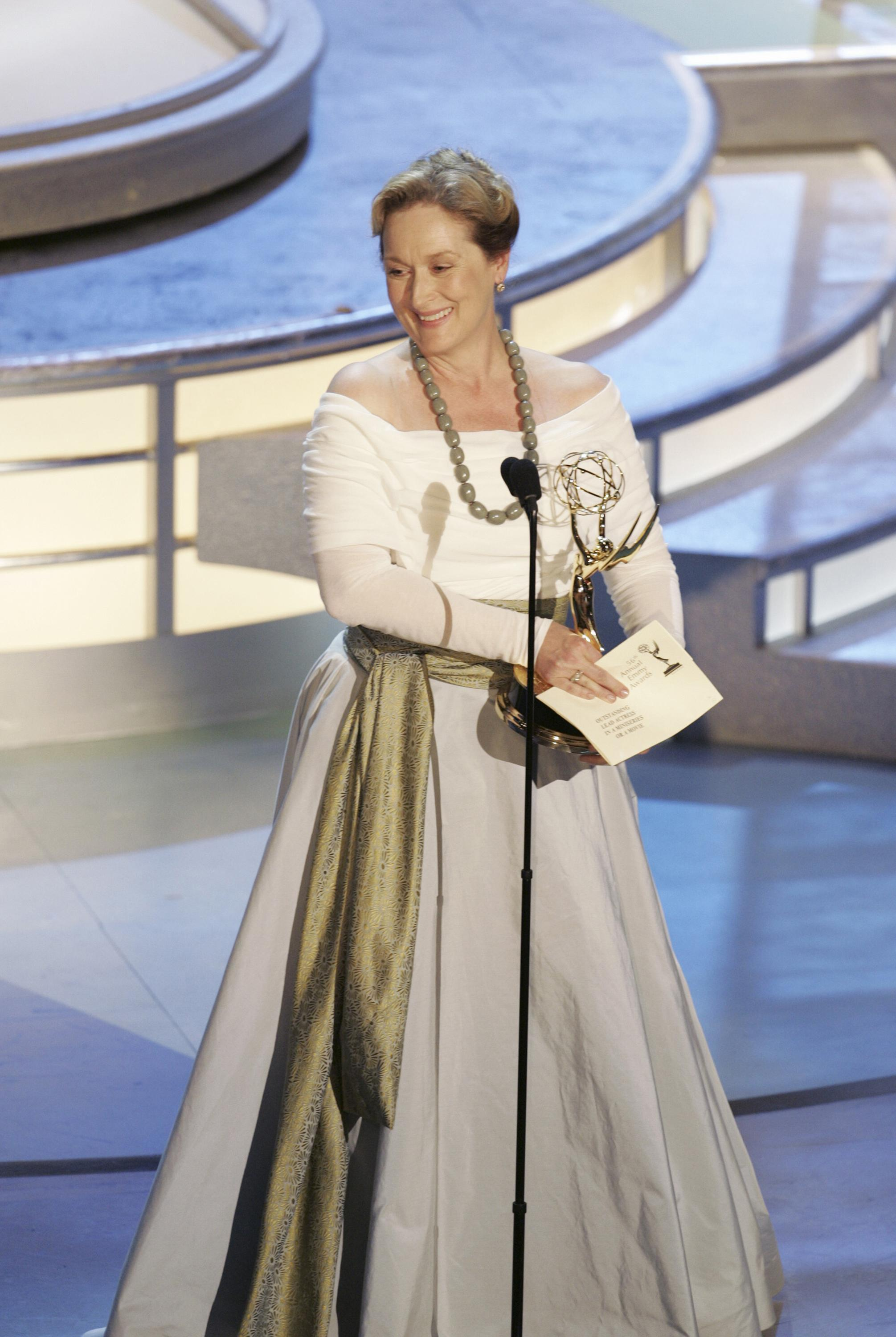 Meryl Streep gives her acceptance speech at the 56th annual Primetime Emmy Awards on Sept. 19, 2004.
