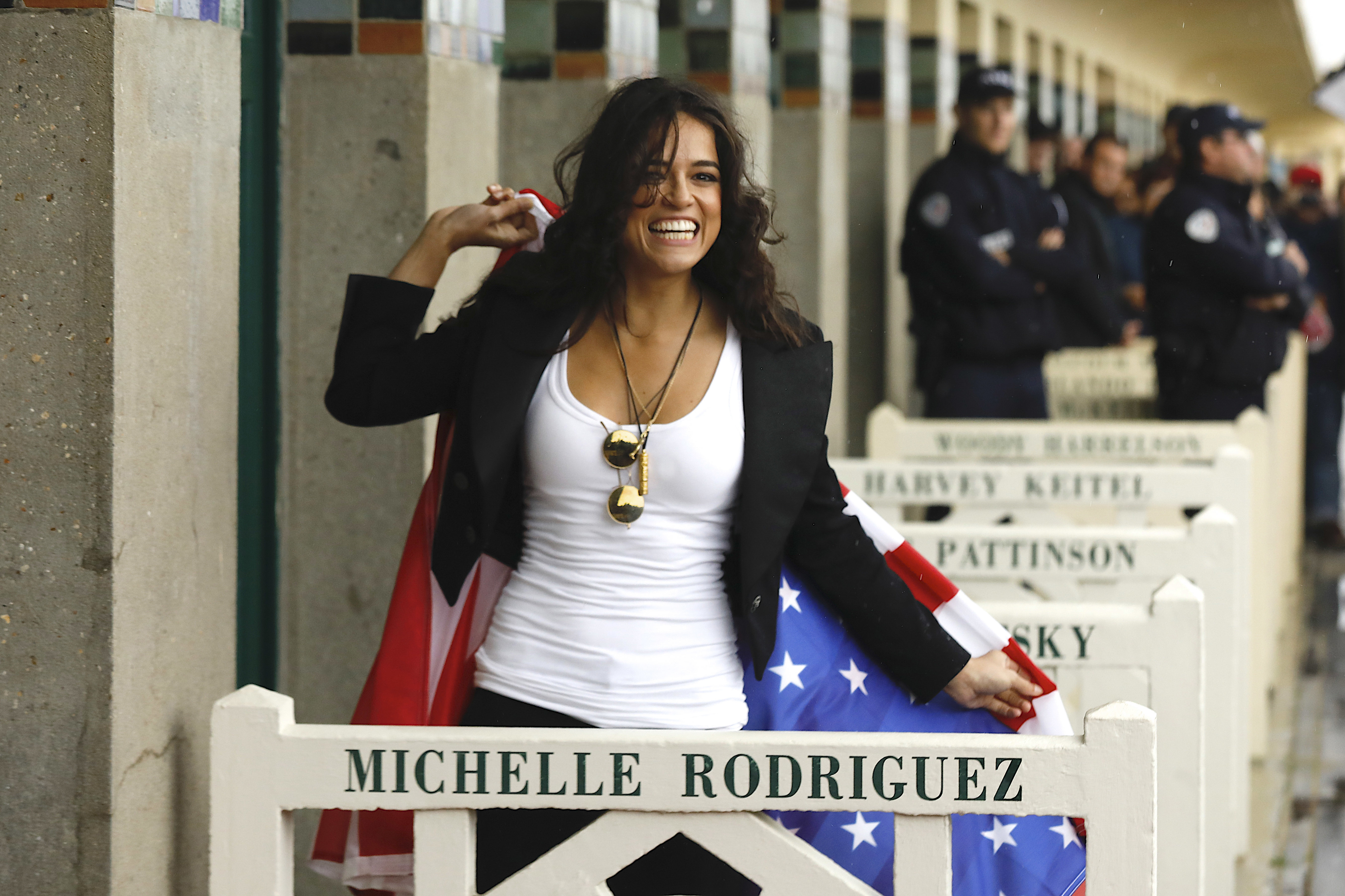 Michelle Rodriguez appears during the unveiling of her dedicated beach locker room on the Promenade des Planches at the 43rd Deauville American Film Festival on Sept. 8, 2017.