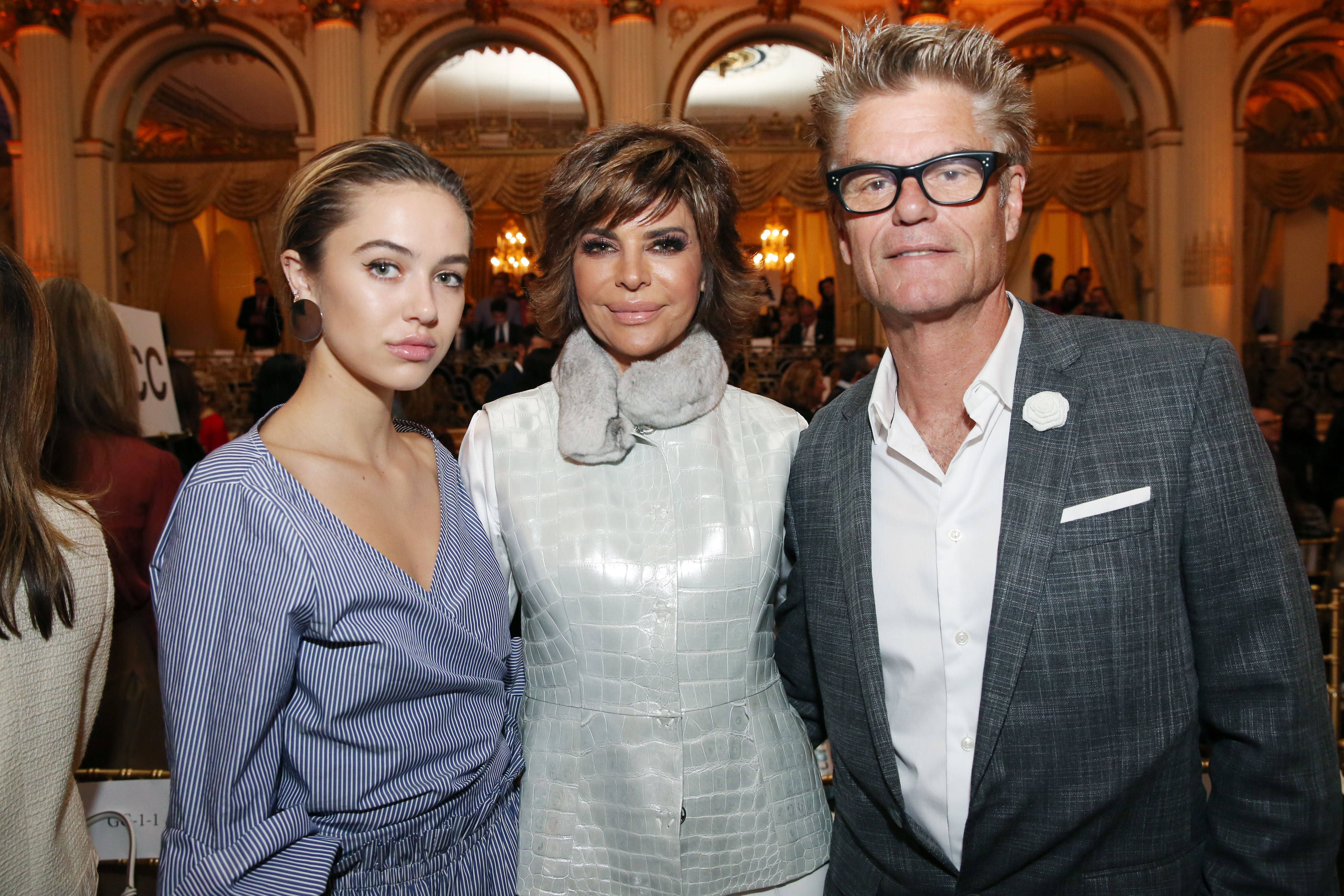 Delilah Hamlin, Lisa Rinna, and Harry Hamlin attend the Dennis Basso show for Spring/Summer 2018 at New York Fashion Week on Sept. 11, 2017.