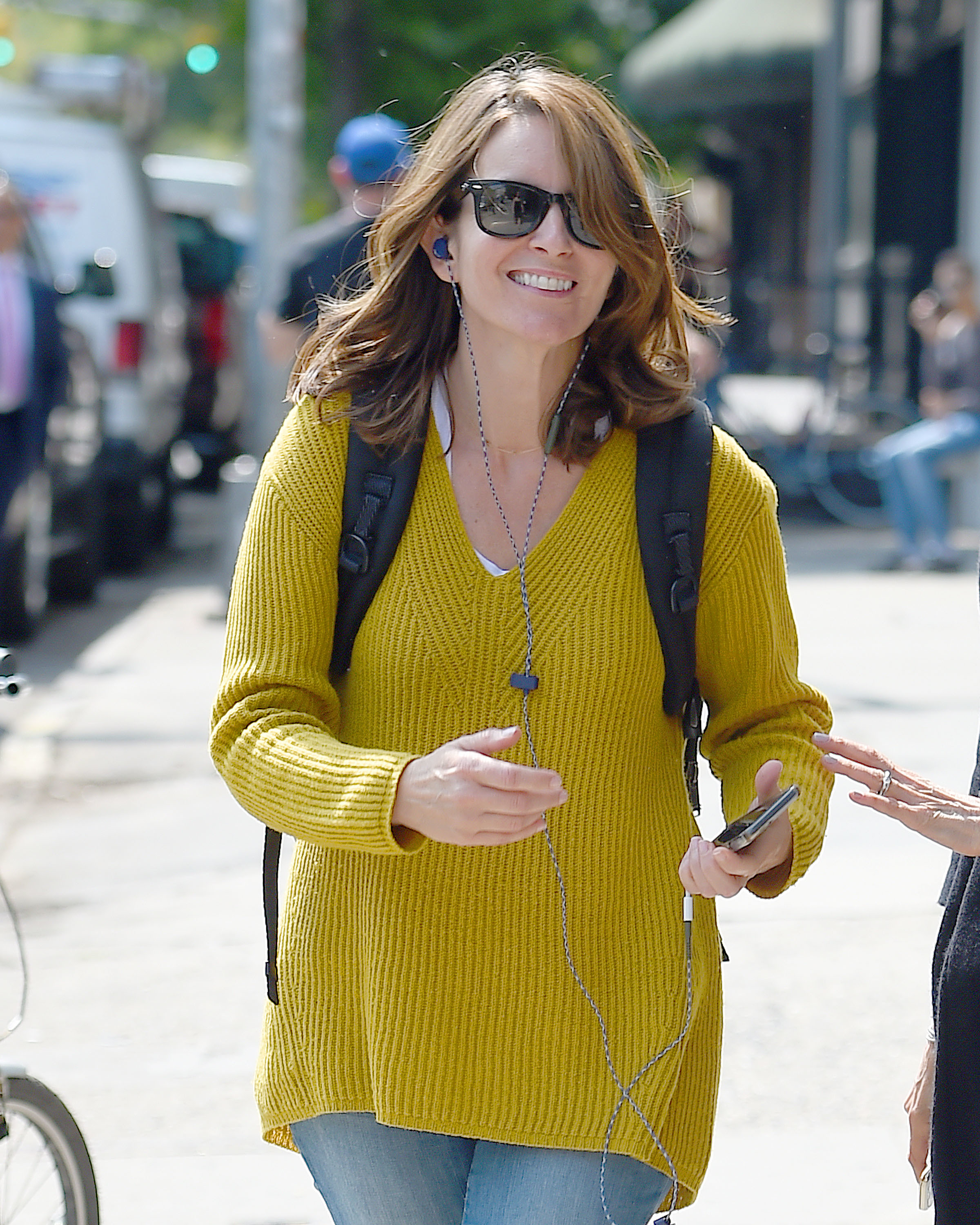 Tina Fey was spotted wearing a mustard sweater in New York City on Sept. 11, 2017.