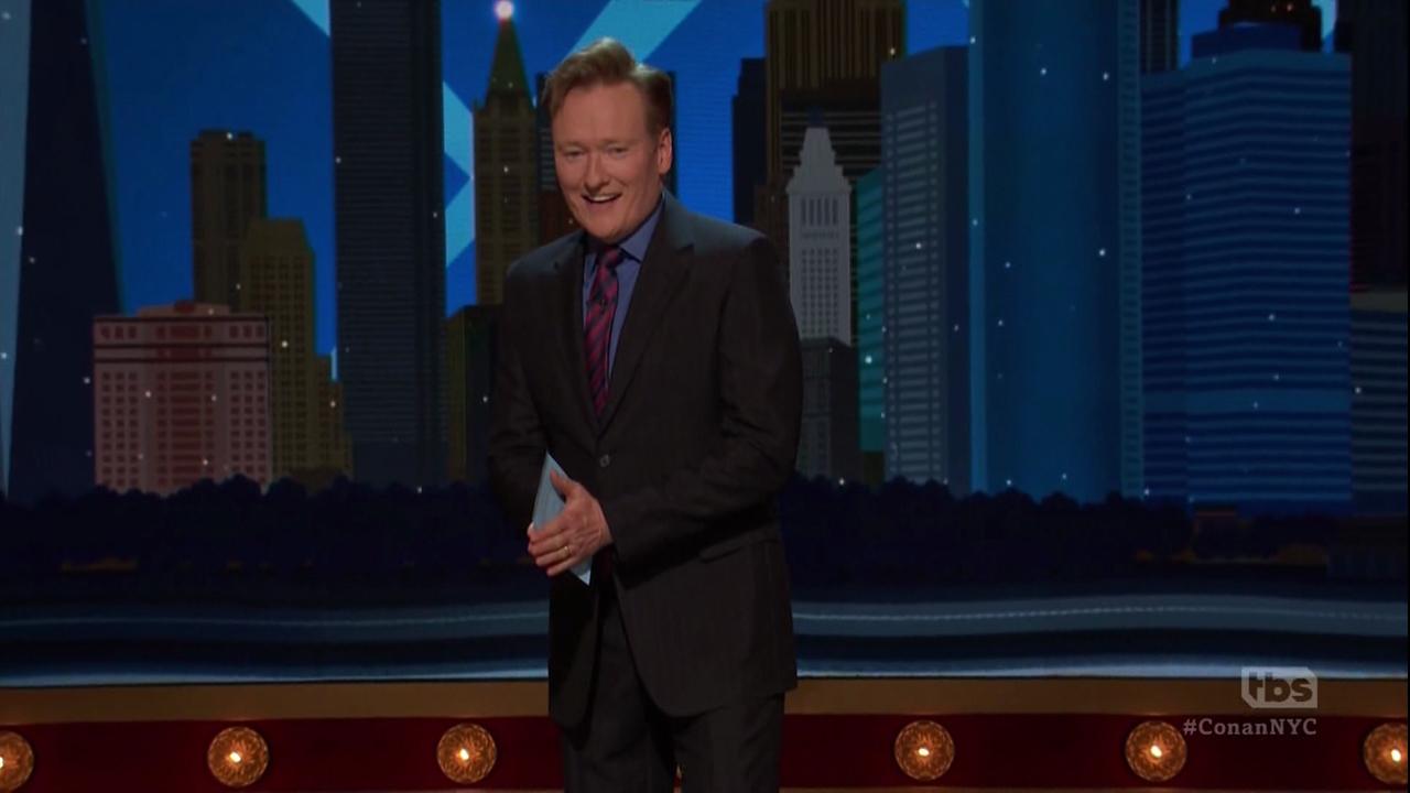 "Conan O'Brien opens his week at the Apollo Theater as seen on TBS's ""Conan"" on Oct. 31, 2016."