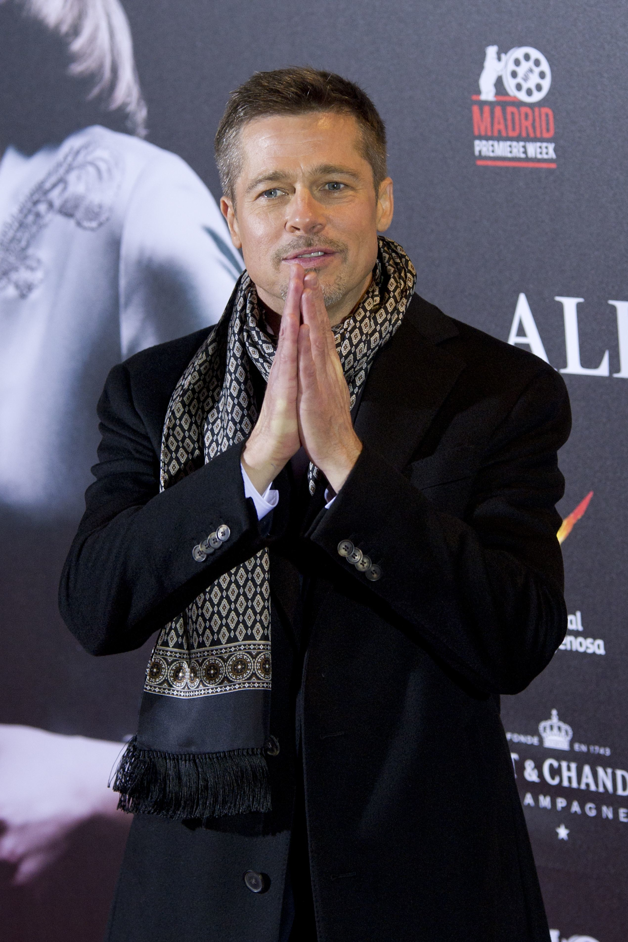 """Brad Pitt attends the premiere of """"Allied"""" in Madrid, Spain, on Nov. 22, 2016."""