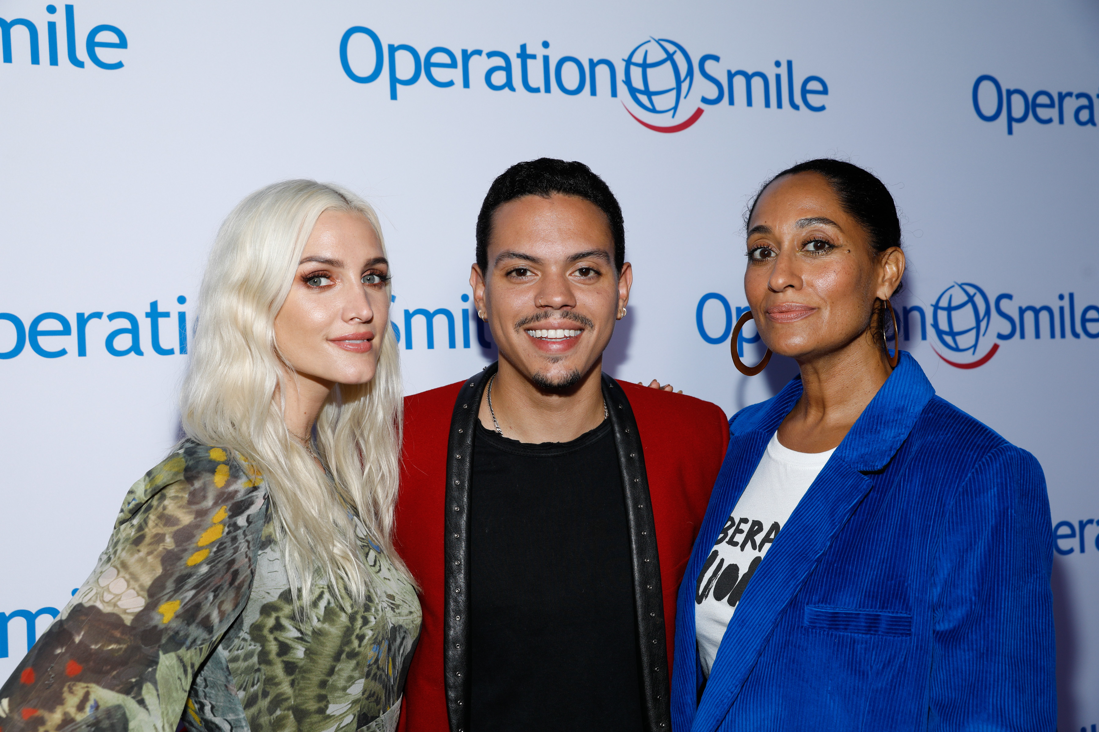 Ashlee Simpson, husband Evan Ross and his sister, Tracee Ellis Ross, attend Operation Smile's Los Angeles Smile Gala at The Broad in Santa Monica, California, on Sept. 9, 2017.