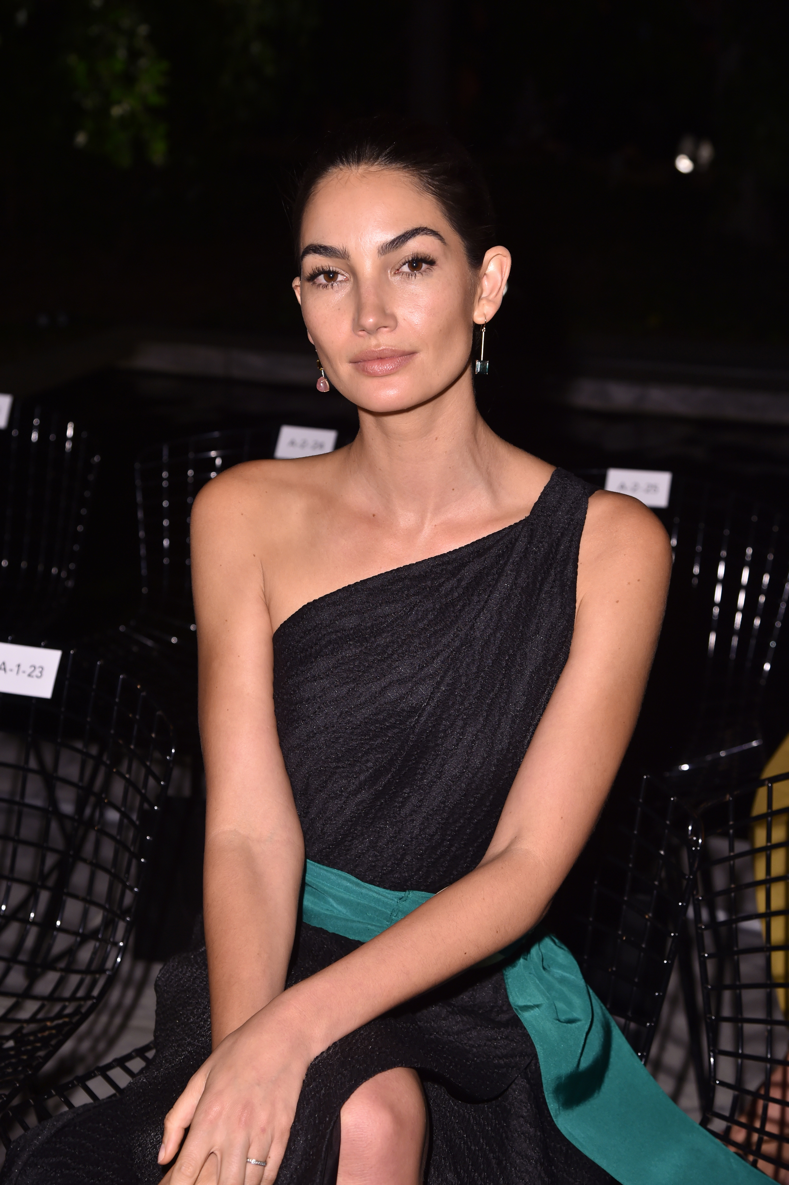 Lily Aldridge sits front row at the Carolina Herrera show during New York Fashion Week on Sept. 11, 2017.