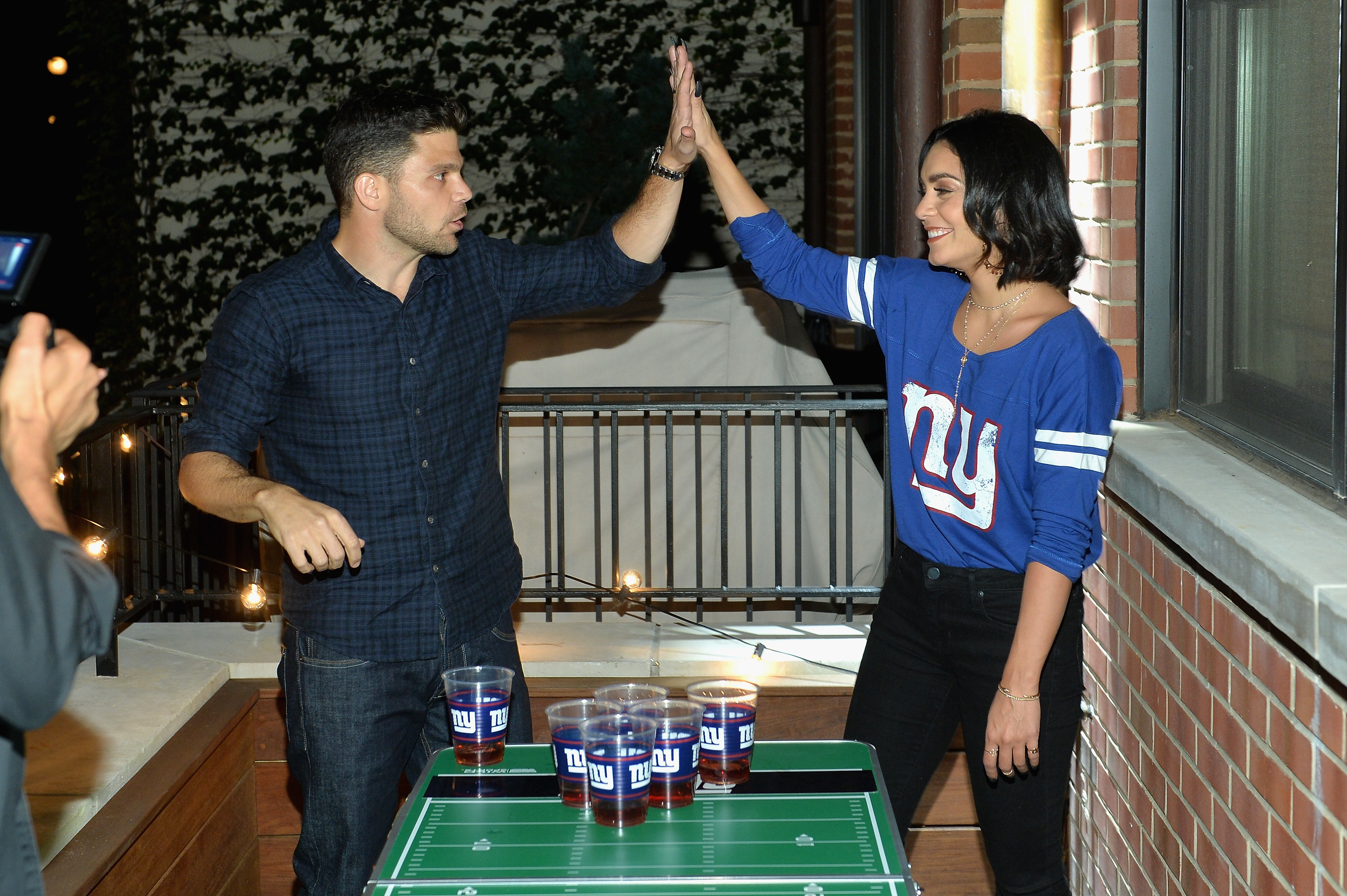 Jerry Ferrara and Vanessa Hudgens attend gameday kickoff at the Booking.com Football House on Sept. 10, 2017.