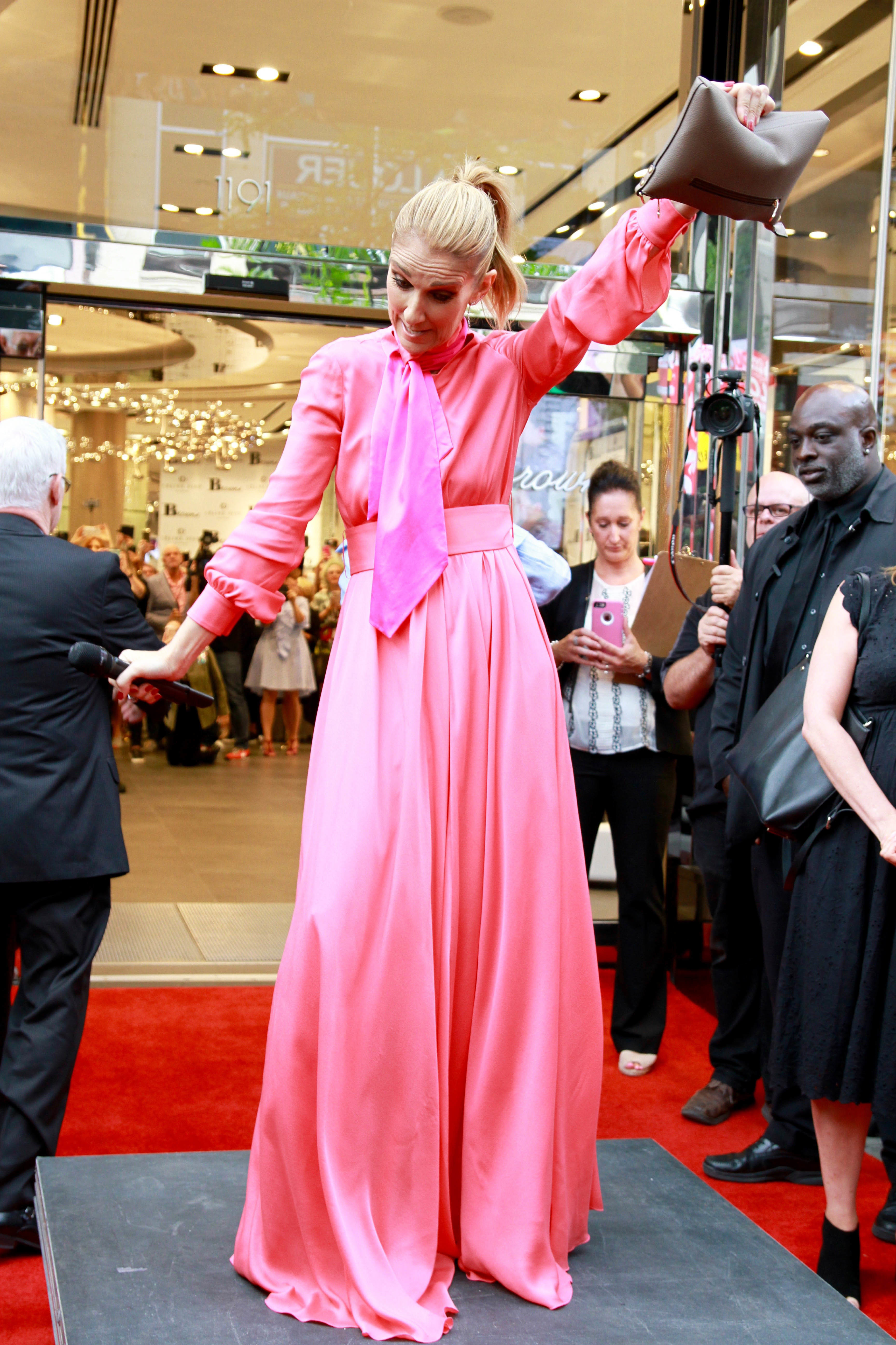 Celine Dion is mobbed by fans at Browns store in Montreal, Canada on Aug. 23, 2017.