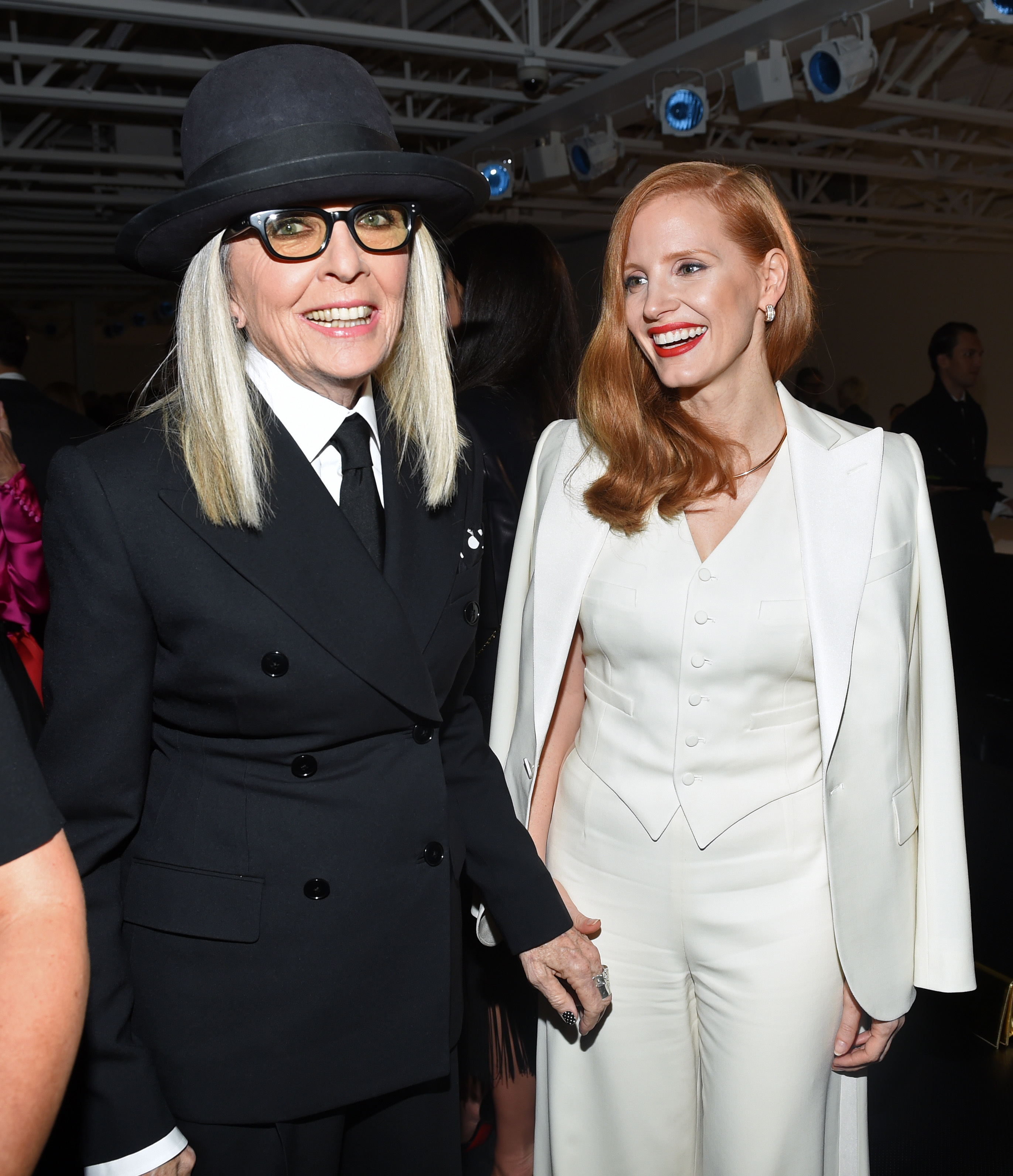 Diane Keaton and Jessica Chastain appear in the front row at the Ralph Lauren show for Spring/Summer 2018 at New York Fashion Week on Sept. 12, 2017.