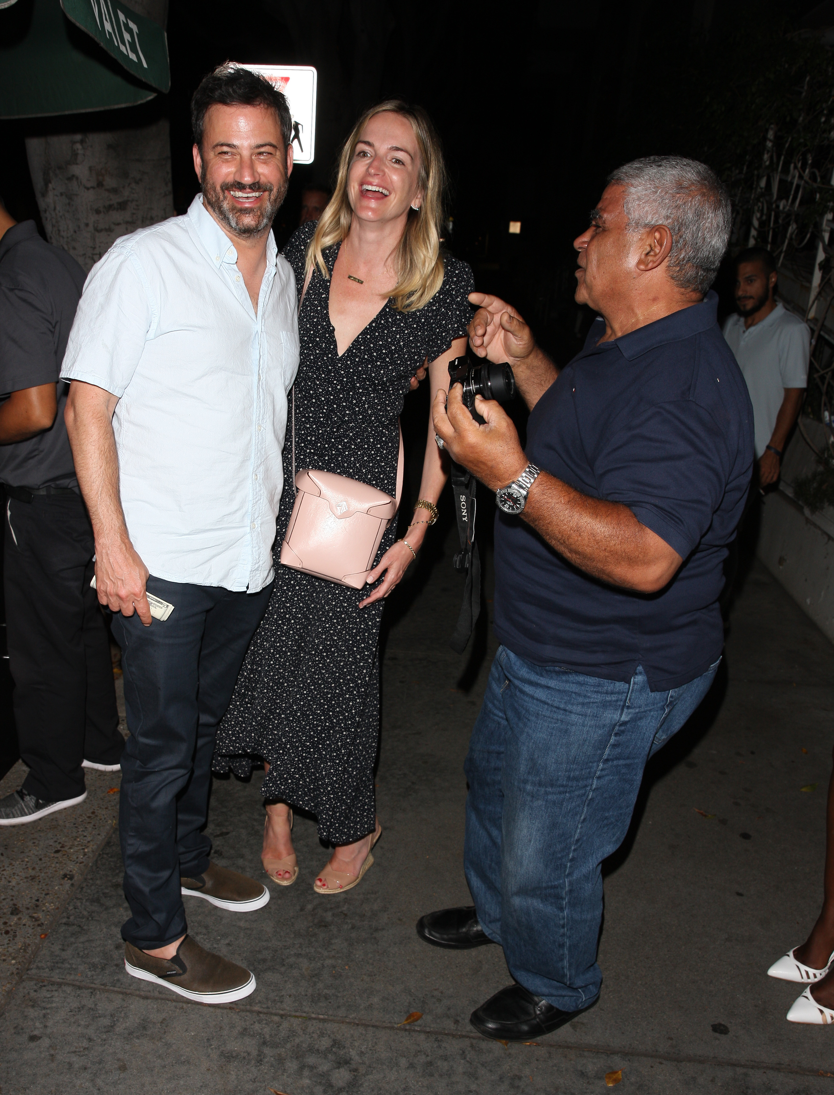 Jimmy Kimmel and his wife Molly McNearney grab dinner at Madeo Restaurant with friends in Los Angeles on Sept. 4, 2017.