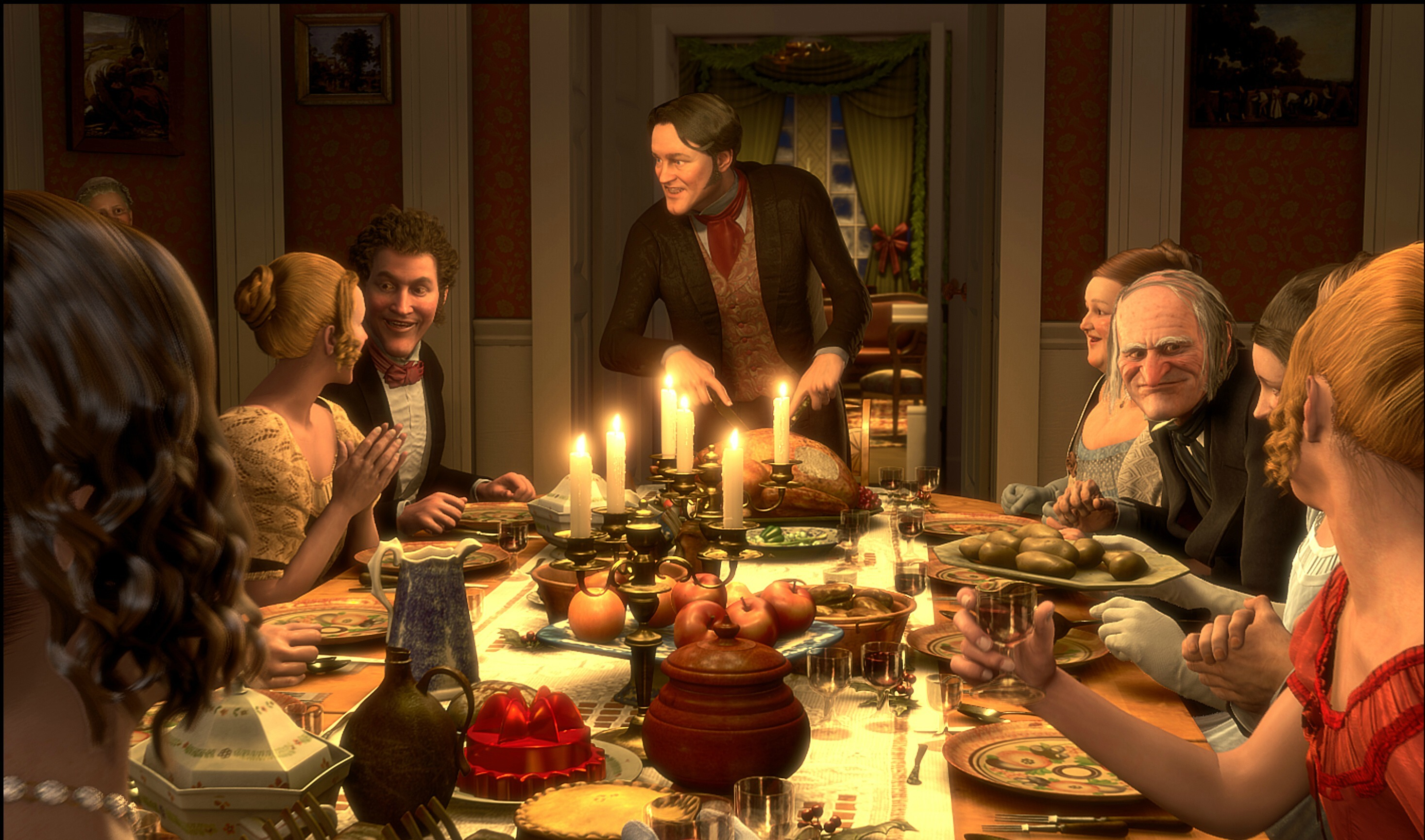 """Actors Colin Firth (center) and Jim Carrey (third from right) lend their voices to the animated holiday classic """"A Christmas Carol"""" in 2009."""