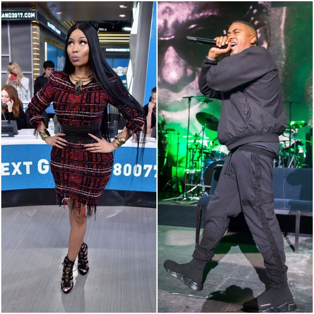 Nicki Minaj and Nas appear in a composite photo from September 2017.