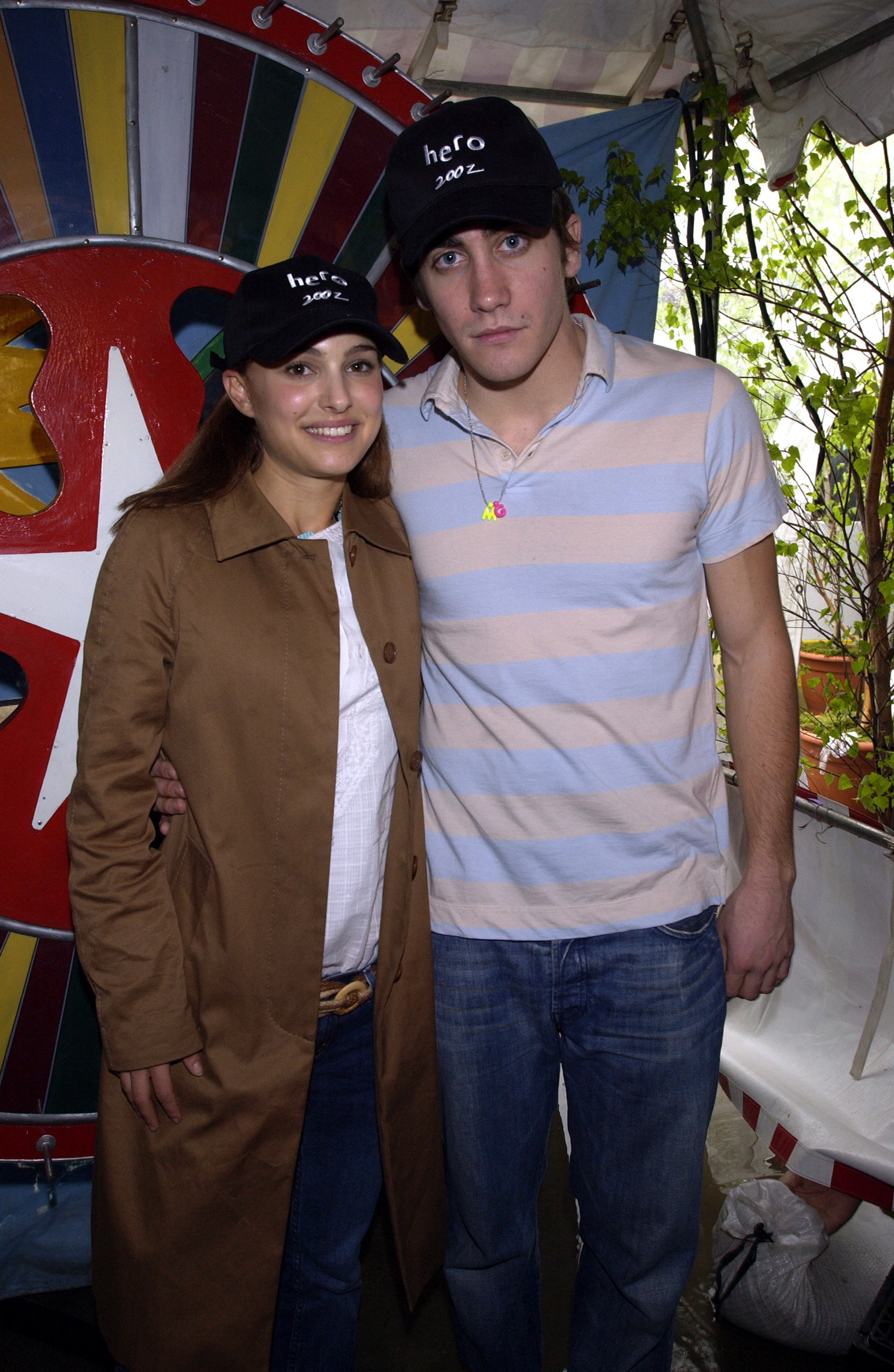 Natalie Portman and Jake Gyllenhaal host the Color Wheel booth at the 9th Kids for Kids Celebrity Carnival to benefit the Pediatric AIDS Foundation on April 28, 2002.