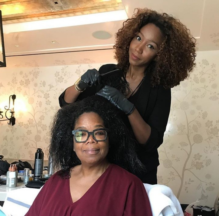 """""""Next stop doing the hair color thang! Thank you @nicolemangrumhair. Thank you Lady Clairol. #emmys2017""""   Oprah Winfrey, who posted this on Instagram on Sept. 17, 2017."""