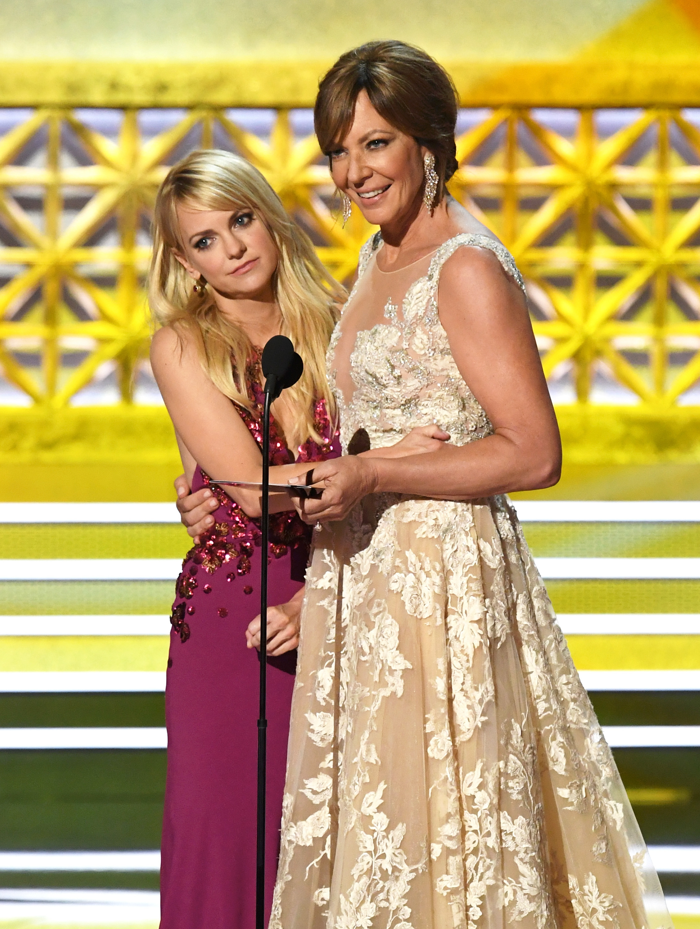 Anna Faris and Allison Janney present an award during the 69th Annual Primetime Emmy Awards at the Microsoft Theater in Los Angeles on Sept. 17, 2017.
