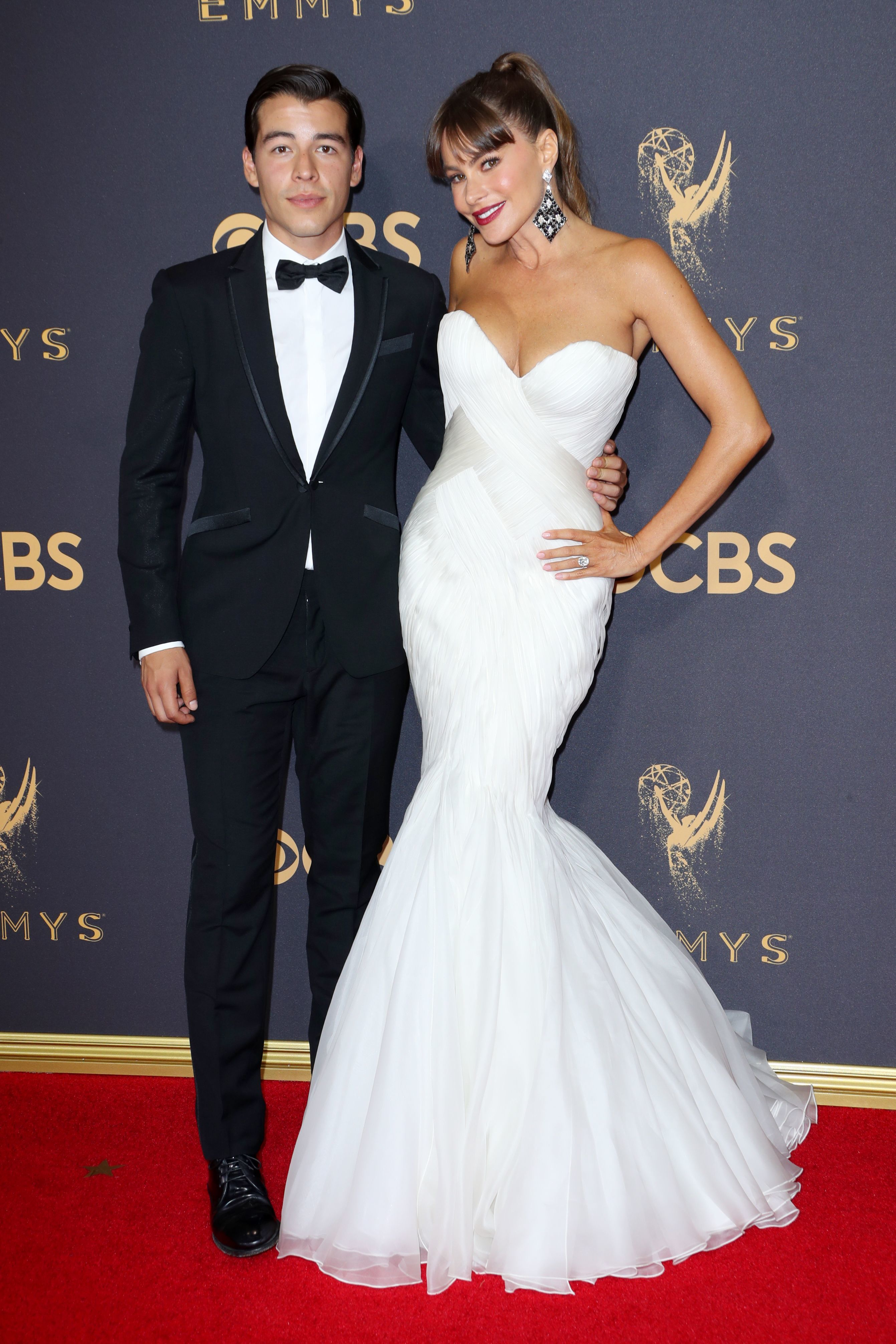 Sofia Vergara and her son, Manolo Gonzalez Ripoll Vergara, attend the 69th Primetime Emmy Awards at the Microsoft Theater in Los Angeles on Sept. 17, 2017.