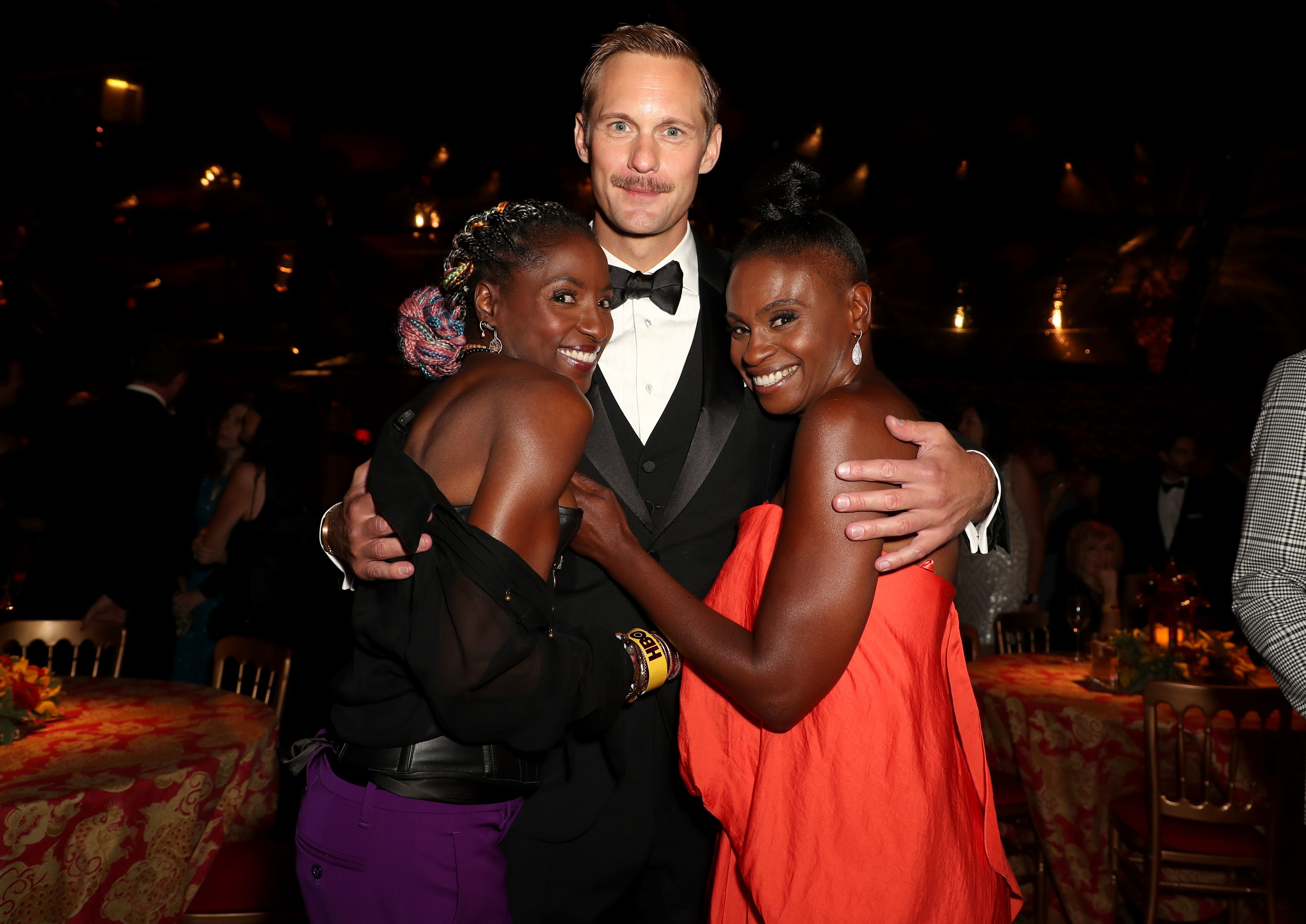 Rutina Wesley, Alexander Skarsgard and Adina Porter attend the HBO afterparty in Los Angeles on Sept. 17, 2017.