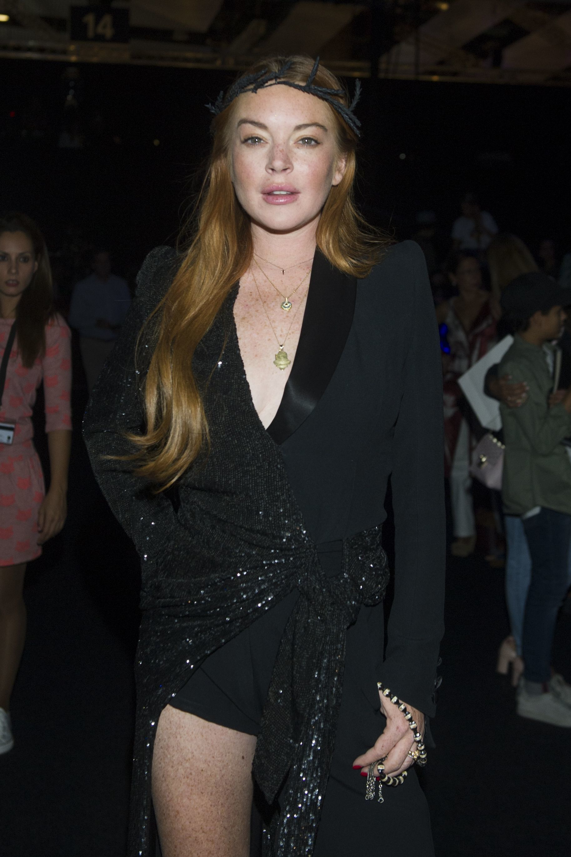 Lindsay Lohan attends the Malne show for Spring/Summer 2018 at Madrid Fashion Week on Sept. 16, 2017.