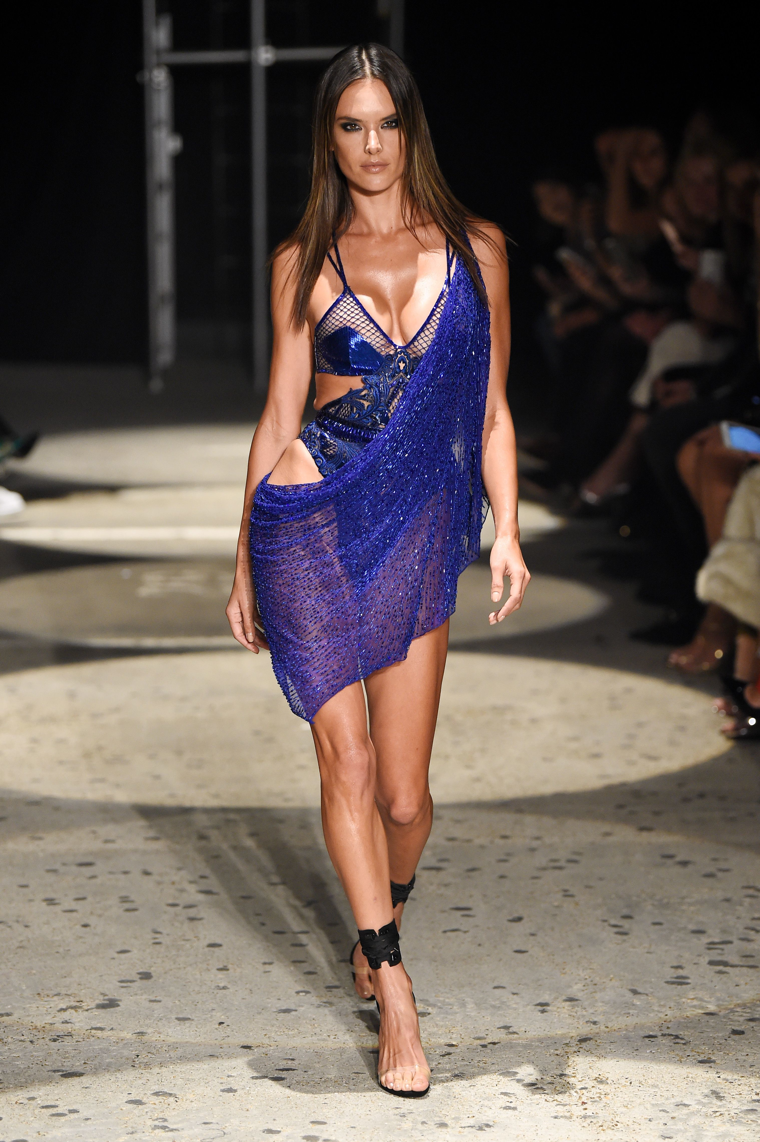 Alessandra Ambrosio appears on the catwalk of the Julien Macdonald show for Spring/Summer 2018 at London Fashion Week on Sept. 18, 2017.