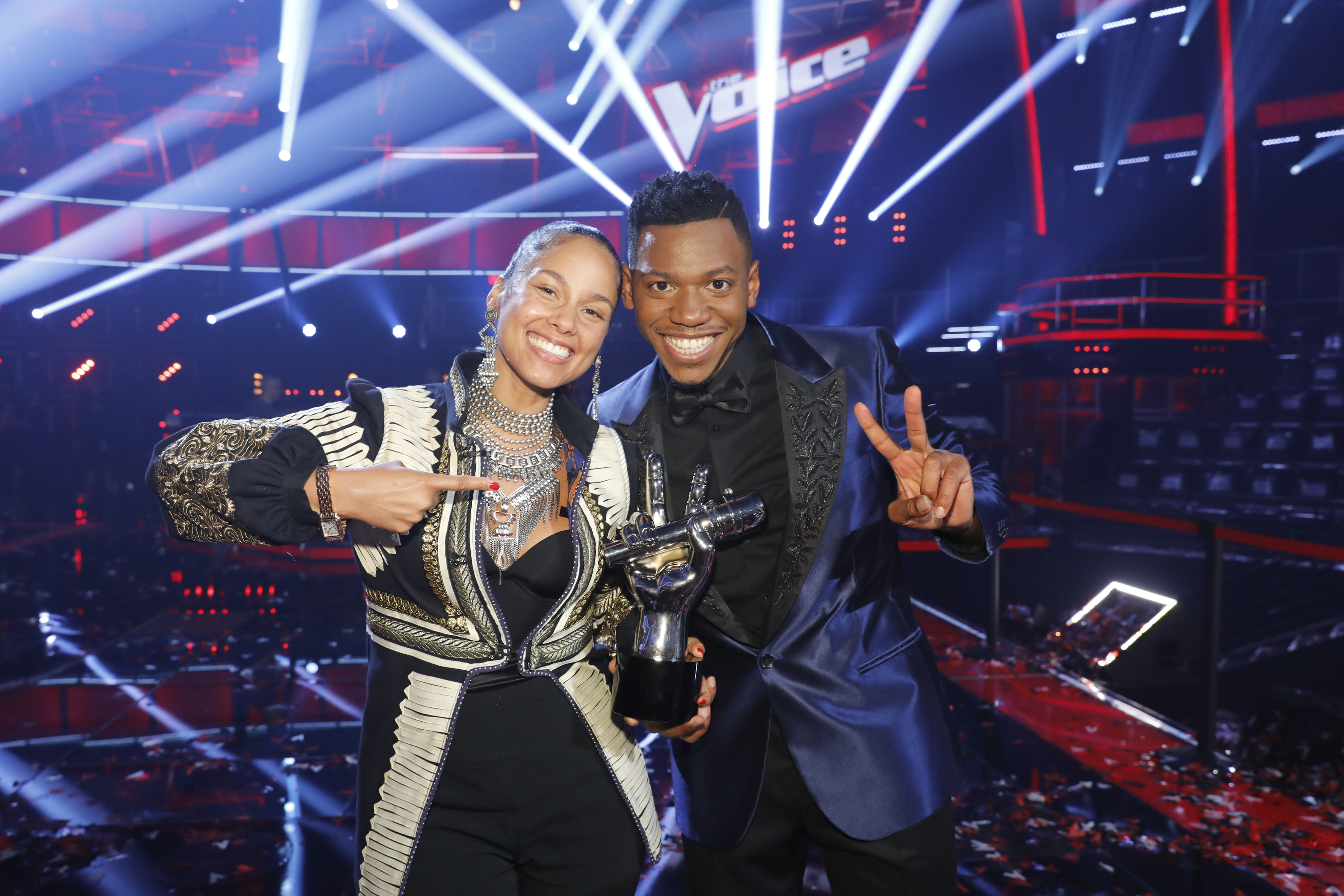 """Alicia Keys and Chris Blue celebrate his victory on Season 12 of """"The Voice"""" in 2017."""