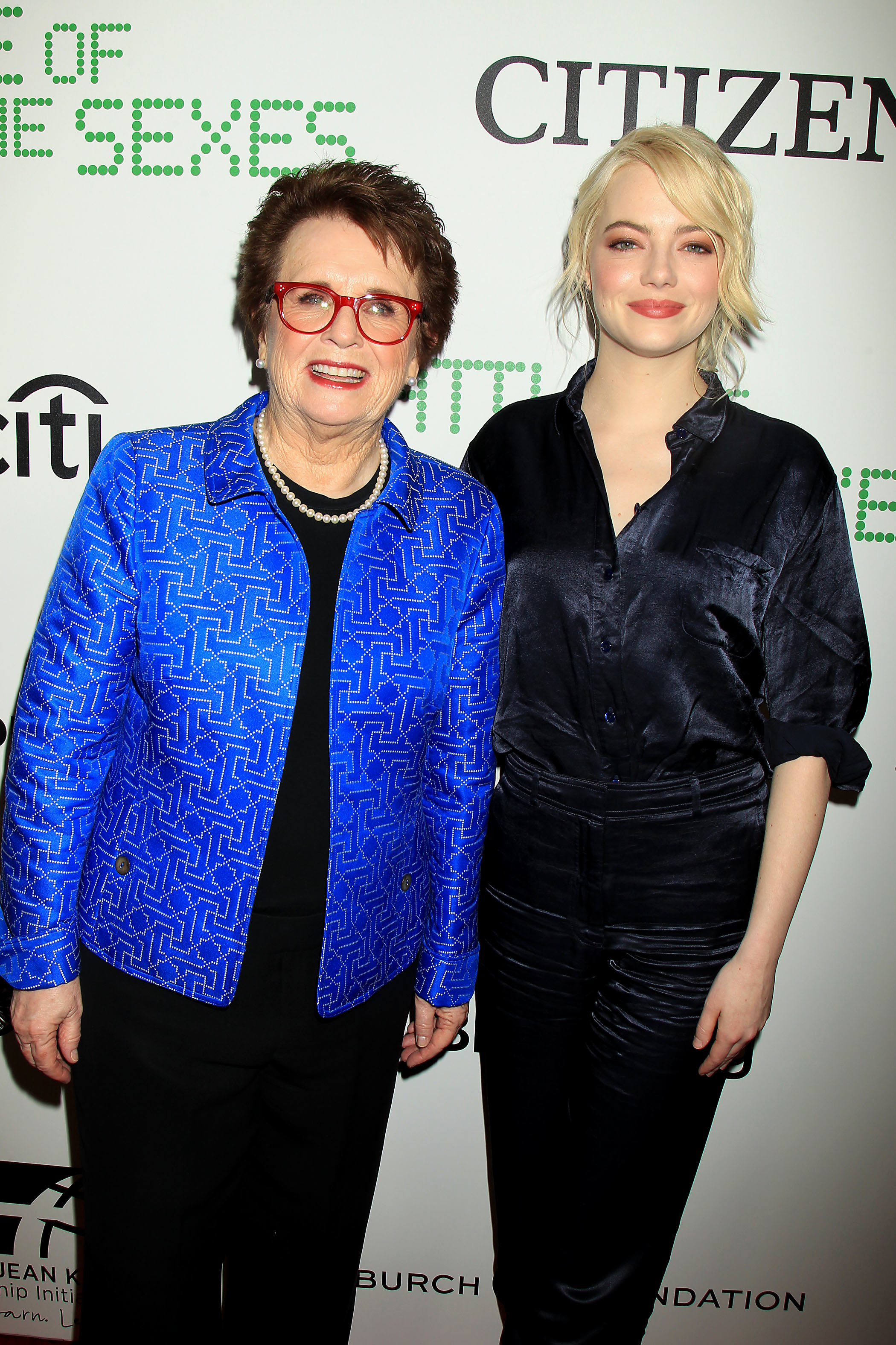 """Billie Jean King and Emma Stone attend the New York Anniversary and Pannel Discussion for Fox Searchlights """"Battle of The Sexes"""" in New York City on Sept. 19, 2017."""