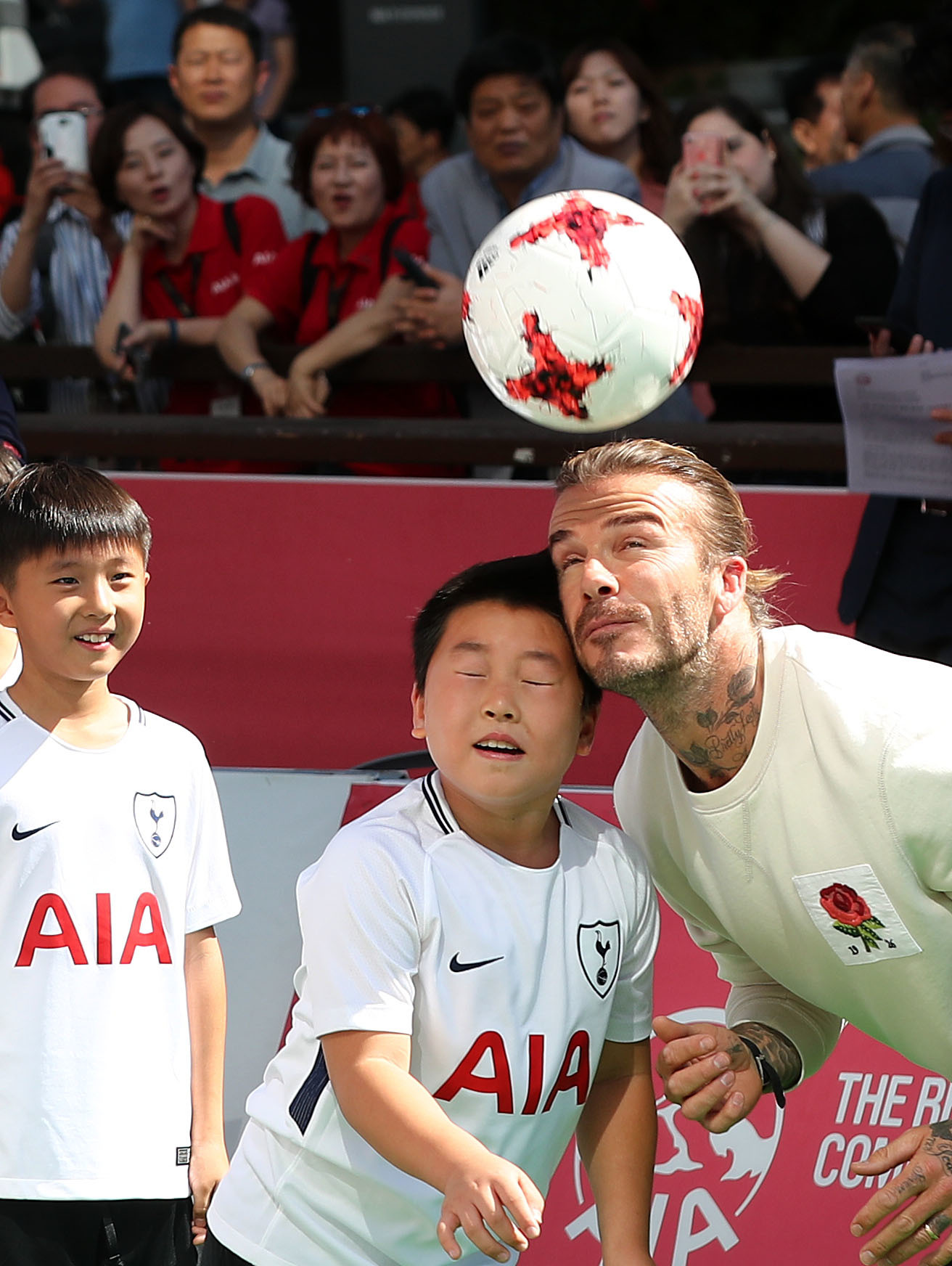 David Beckham visits a soccer clinic with local kids in Seoul, Korea on Sept. 20, 2017.