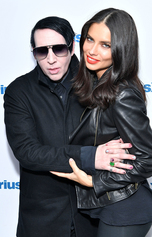 Marilyn Manson and model Adriana Lima visit SiriusXM Studios in New York City on Sept. 19, 2017.