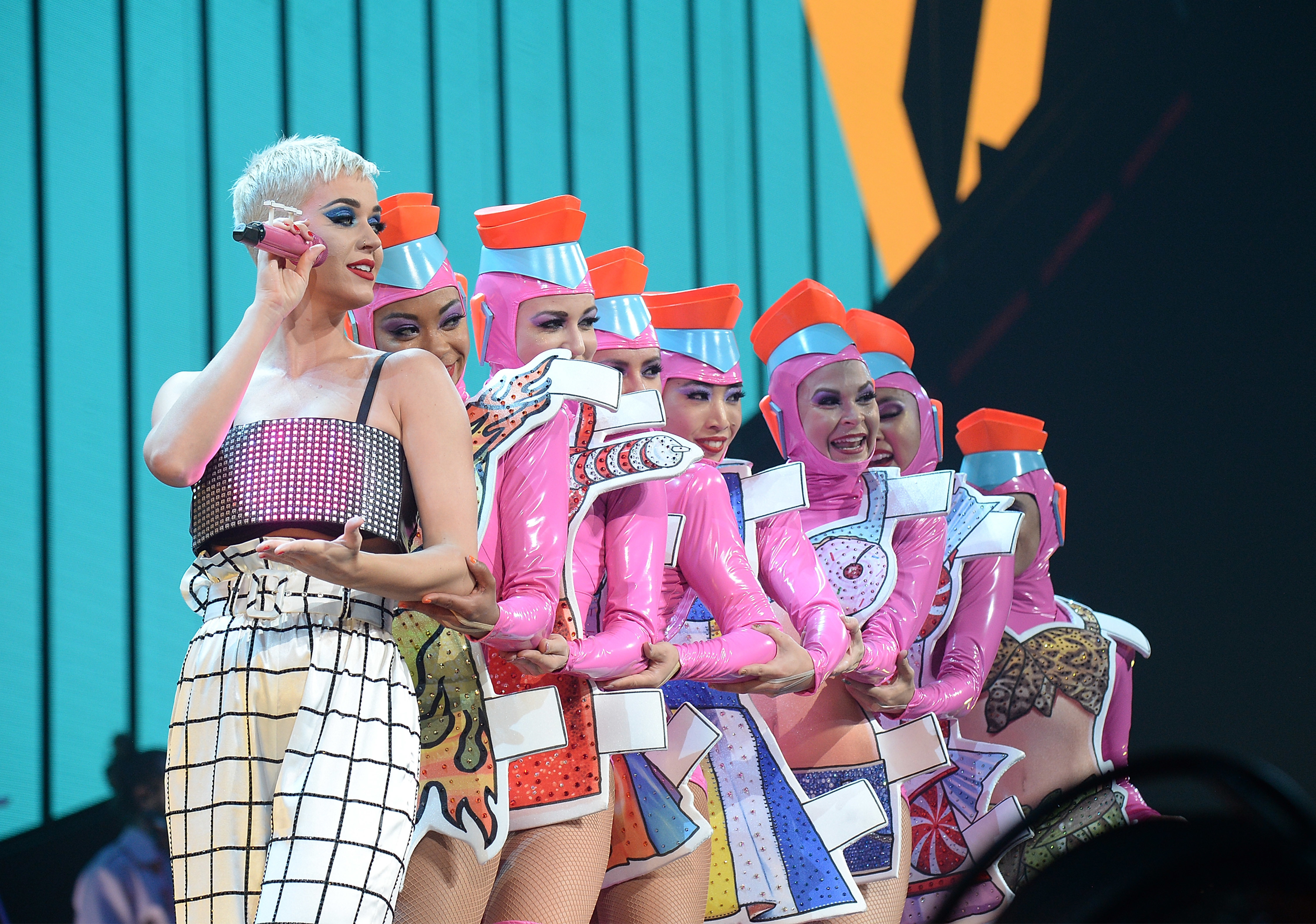"""Katy Perry performs onstage during her """"Witness: The Tour"""" tour opener at Bell Centre in Montreal on Sept. 19, 2017."""
