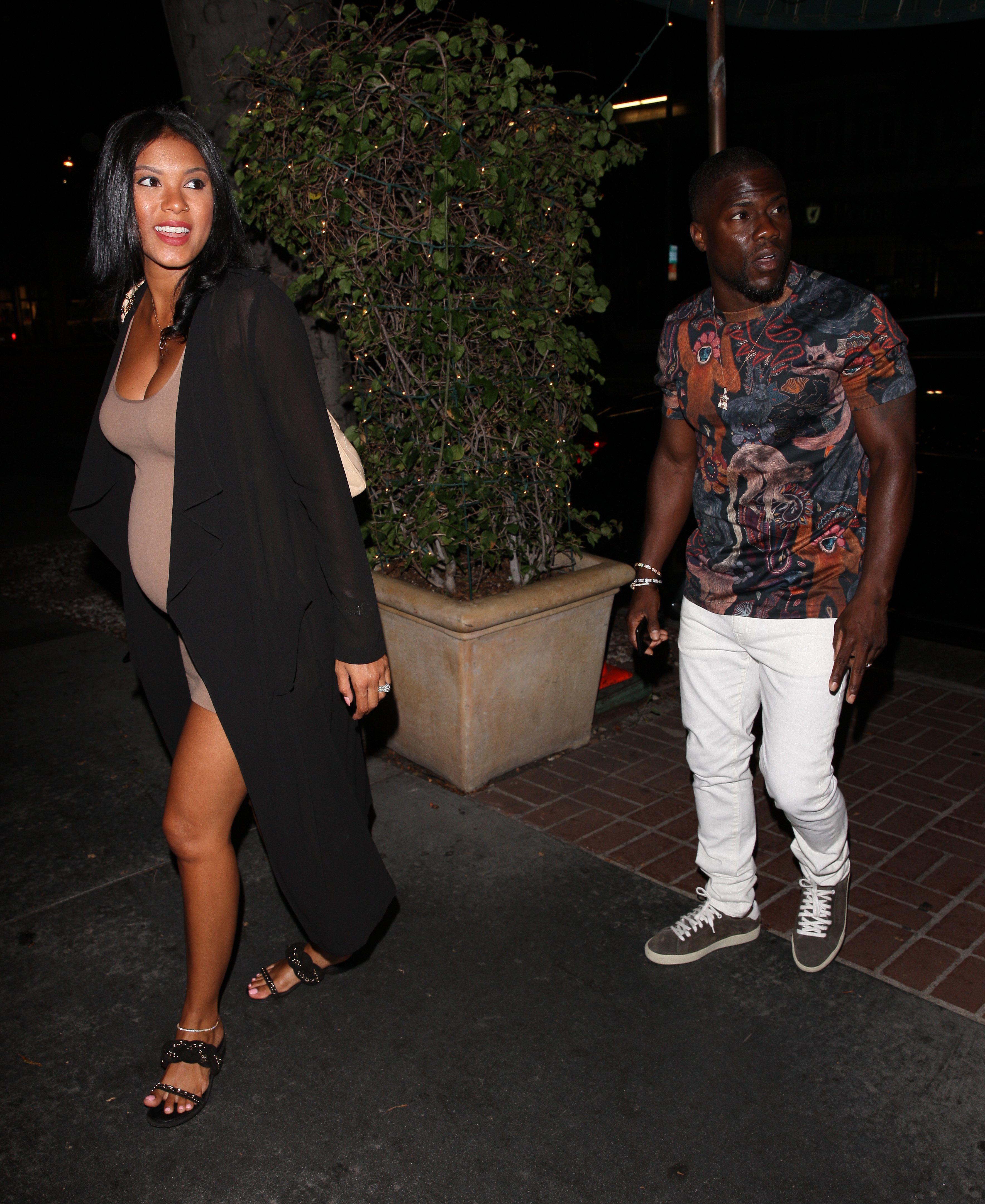 Kevin Hart and his pregnant wife Eniko Parrish grab dinner at Madeo Restaurant in West Hollywood on Aug. 20, 2017.