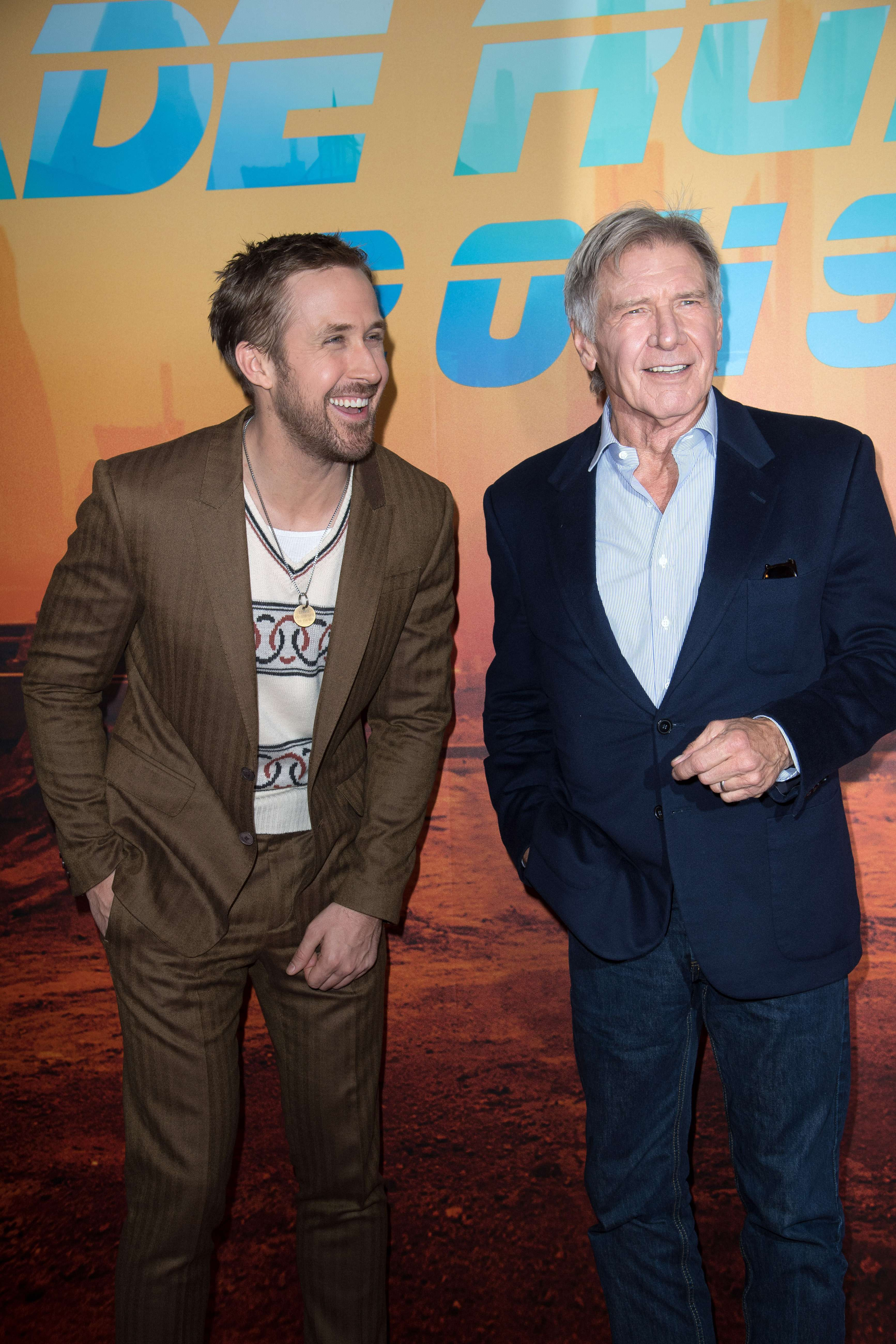 """Ryan Gosling and Harrison Ford attend the """"Blade Runner 2049"""" film photocall in Paris on Sept. 20, 2017."""