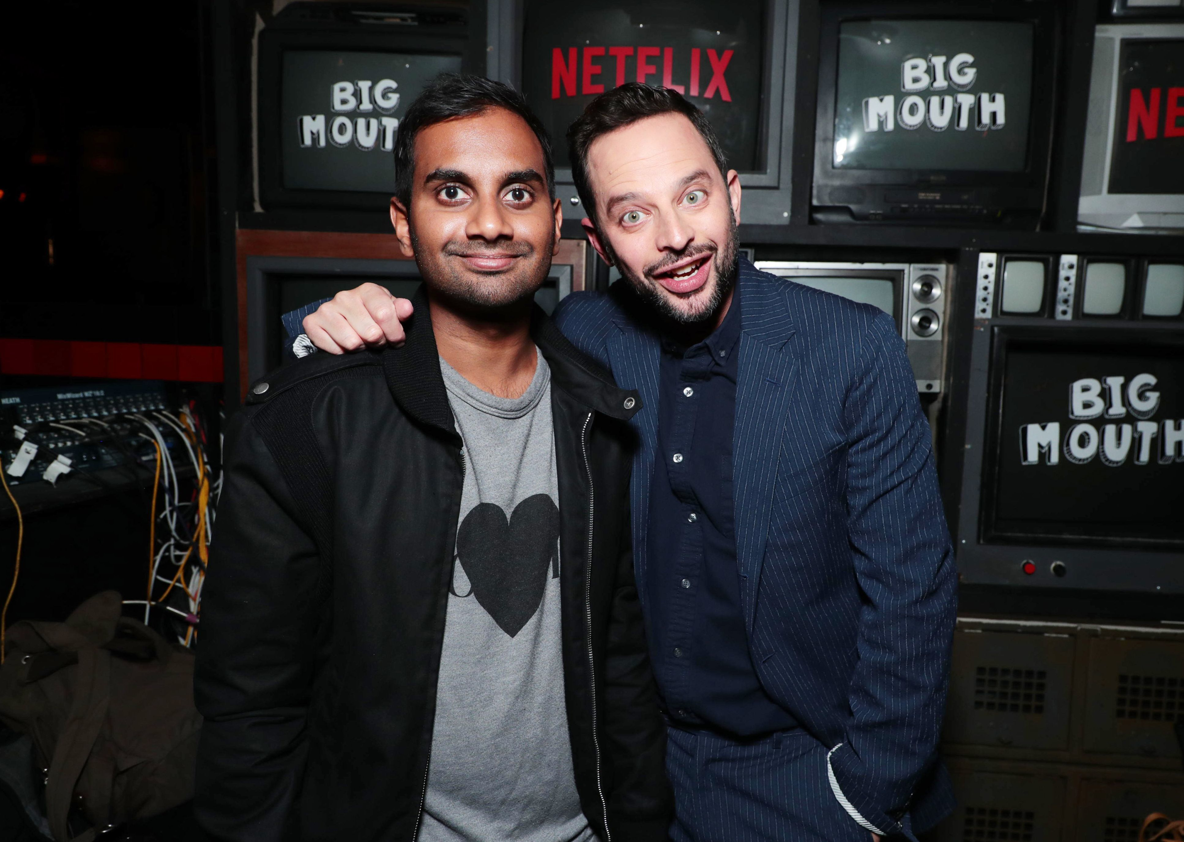 """Aziz Ansari and Nick Kroll attend the Netflix """"Big Mouth"""" premiere screening and party in Los Angeles on Sept. 20, 2017."""