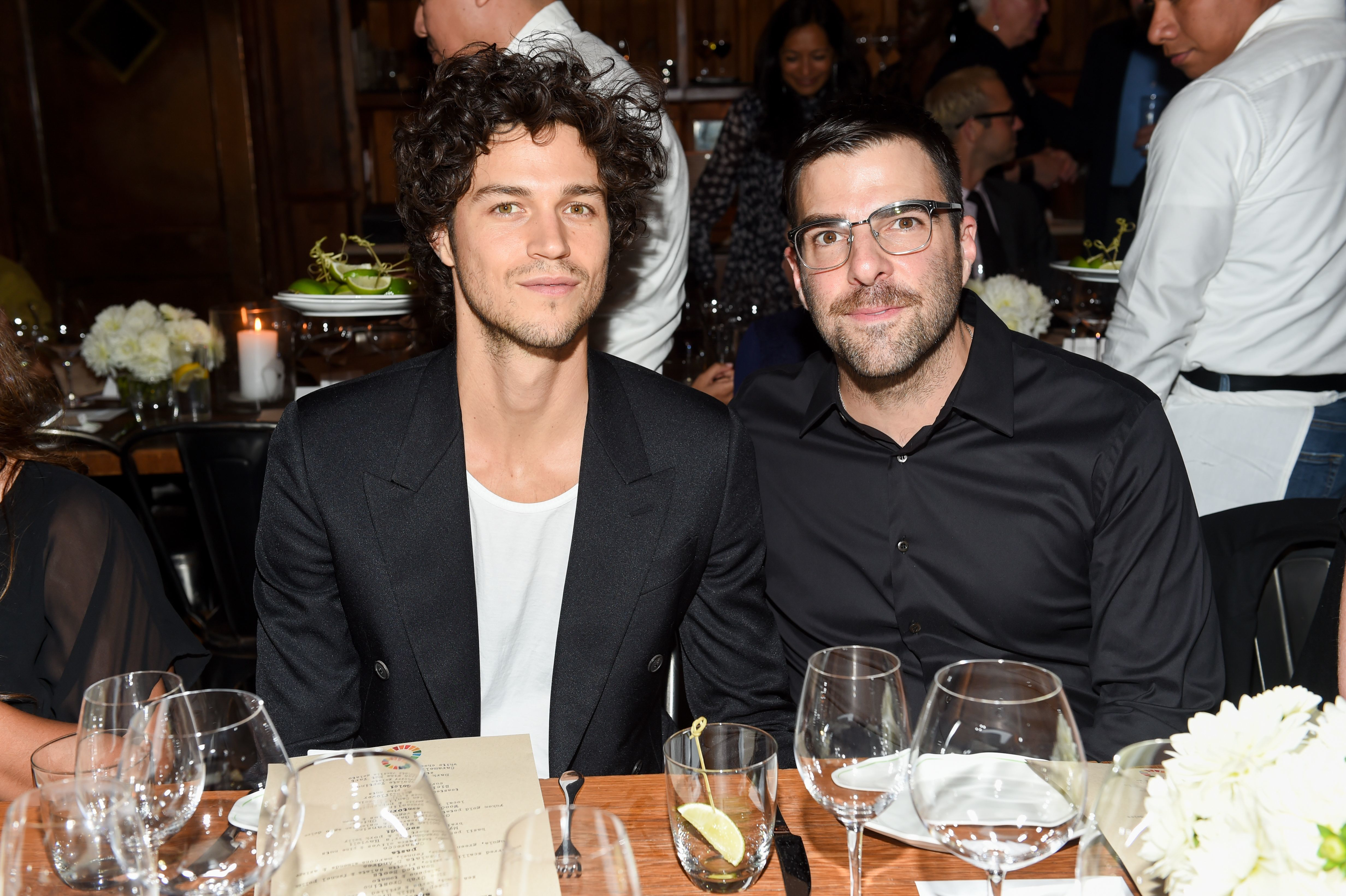 Miles McMillan and Zachary Quinto attend the Power, Influence and Gender Dinner hosted by Hearst in New York City on Sept. 20, 2017.