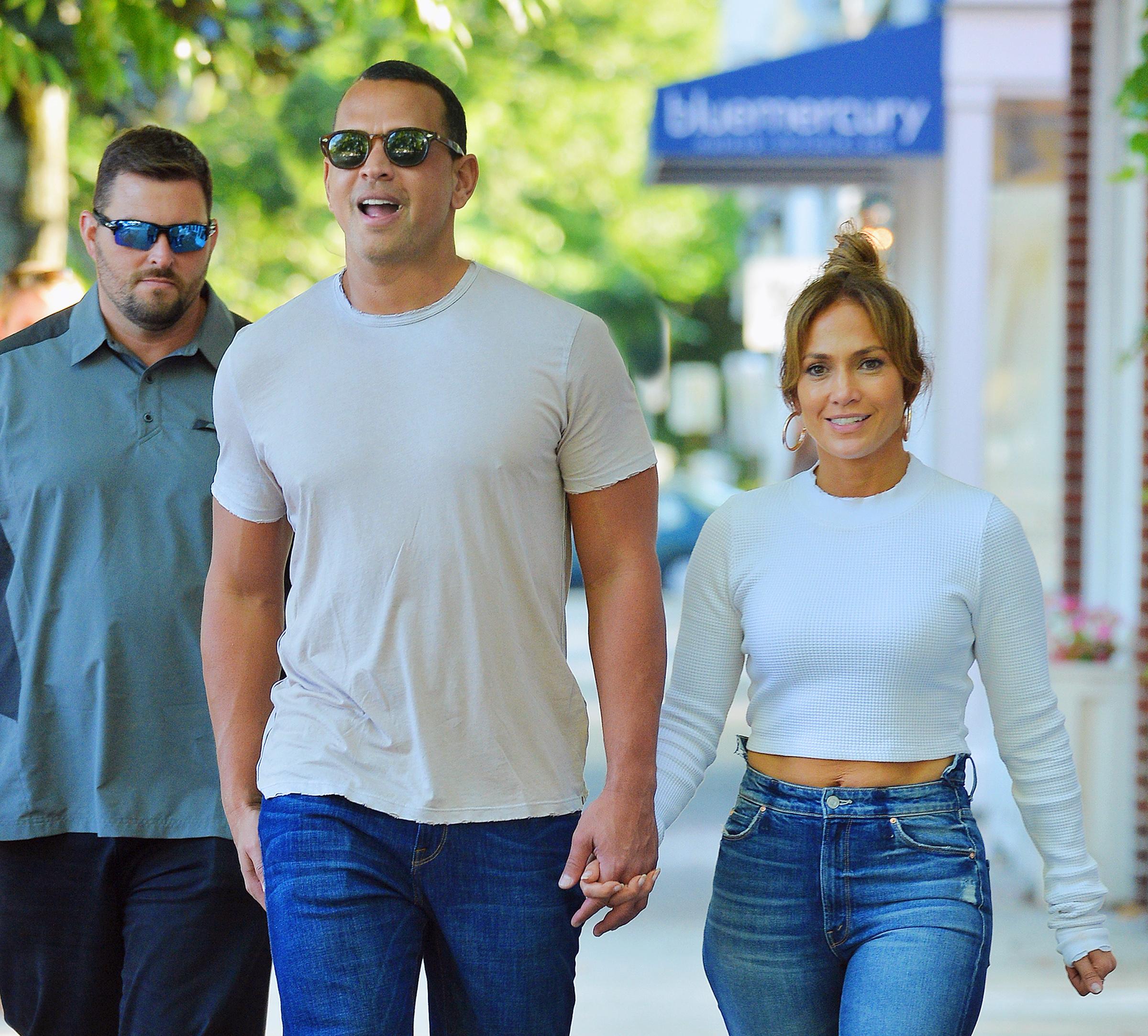 Jennifer Lopez and Alex Rodriguez are all smiles as they enjoyed a sunday stroll in the Hamptons in New York on June 26, 2017.