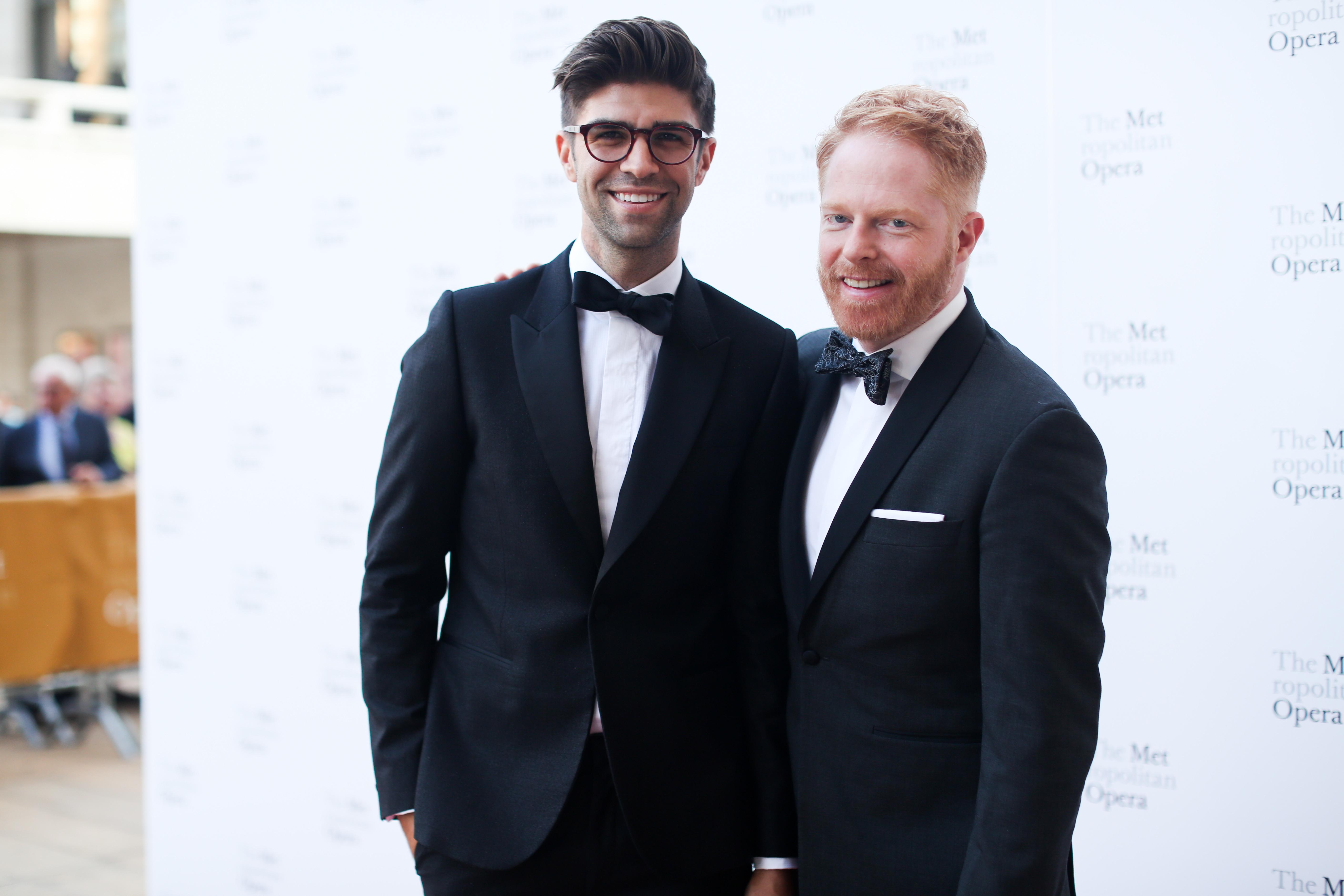 Justin Mikita and Jesse Tyler Ferguson attend the Metropolitan Opera Opening Night Gala in New York City on Sept. 25, 2017.